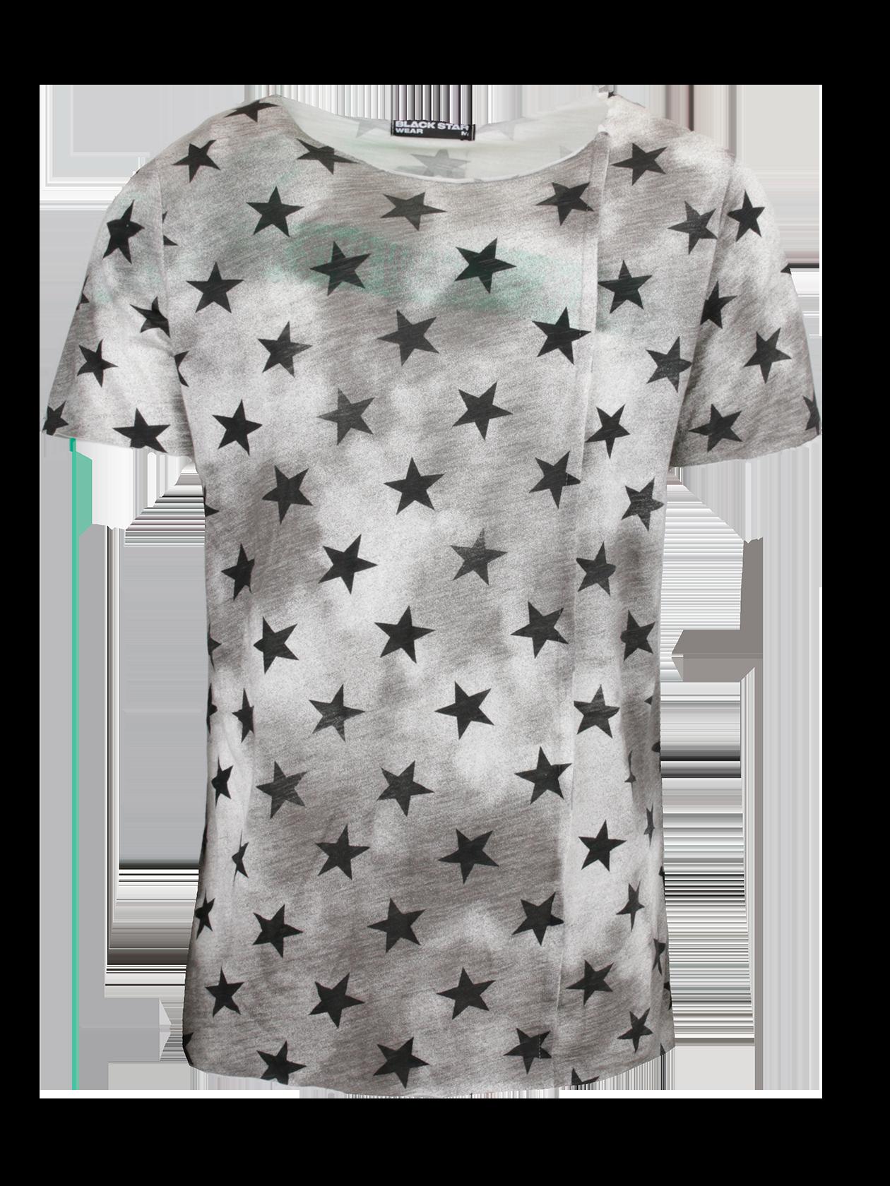 Футболка мужская Super Star 2.0Футболка мужская Super Star 2.0 от бренда BSW – стильная вещь на каждый день. Свободный прямой крой, небольшое удлинение, короткий рукав. Горловина-лодочка с неглубоким вырезом и нашивкой с логотипом Black Star Wear с изнаночной стороны. С фронтальной стороны оформлен декоративный вертикальный шов. Модель представлена в сером цвете, дополнена темными пятнами и рисунком в виде многочисленных черных звезд. Футболка сшита из премиального натурального хлопка, обладает высокой практичностью и износоустойчивостью.<br><br>Размер: S<br>Цвет: Серый<br>Пол: Мужской