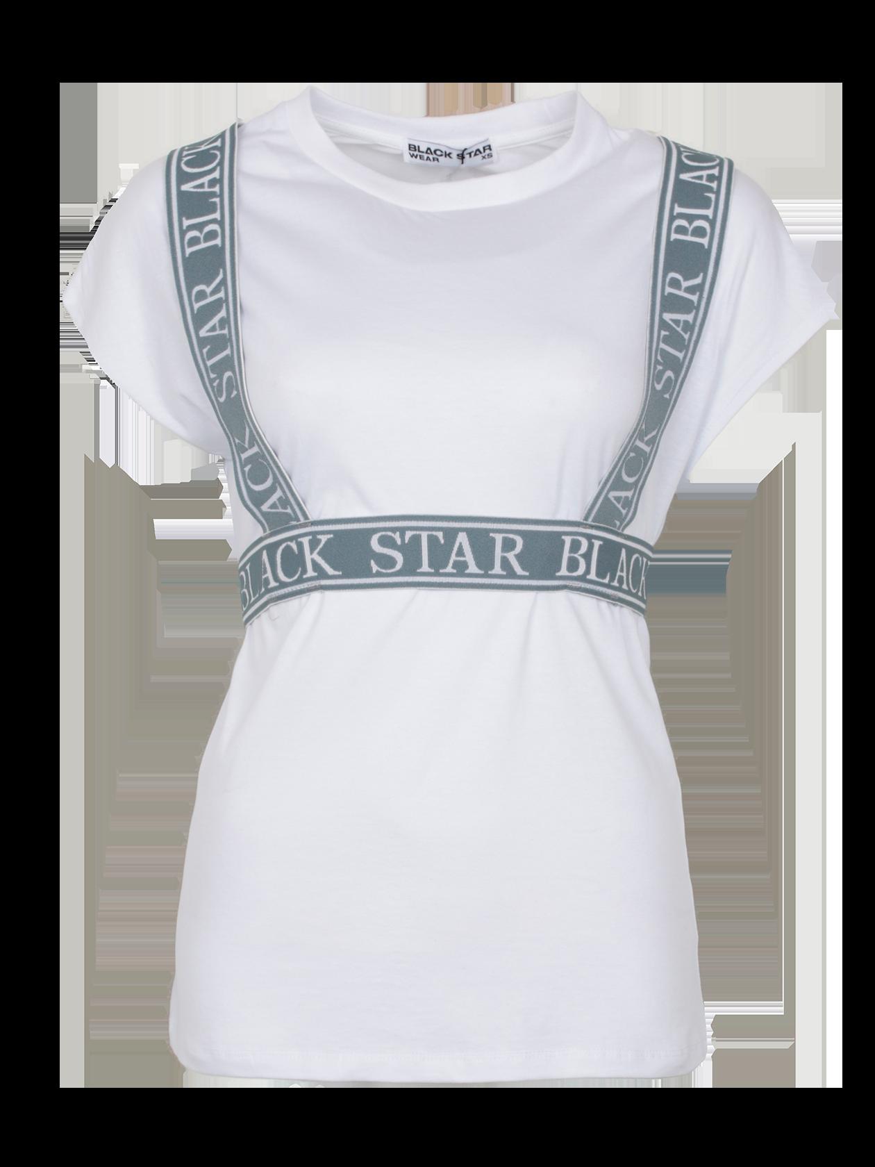 Футболка женская TAPES STARСтильная женская футболка TAPES STAR из новой коллекции Black Star Wear. Изделие из 100% хлопка премиального качества. Классического удлиненного кроя с коротким рукавом и округлой эластичной горловиной. Впечатляющий молодежный дизайн декорирован широкой резинкой светло-серого цвета с фирменным логотипом Black Star в виде подтяжек, что придает изделию уникальности и неповторимости стиля. Модель представлена в классическом белом цвете. Сделает любой образ стильным и неподражаемым.<br><br>Размер: XS<br>Цвет: Белый<br>Пол: Женский