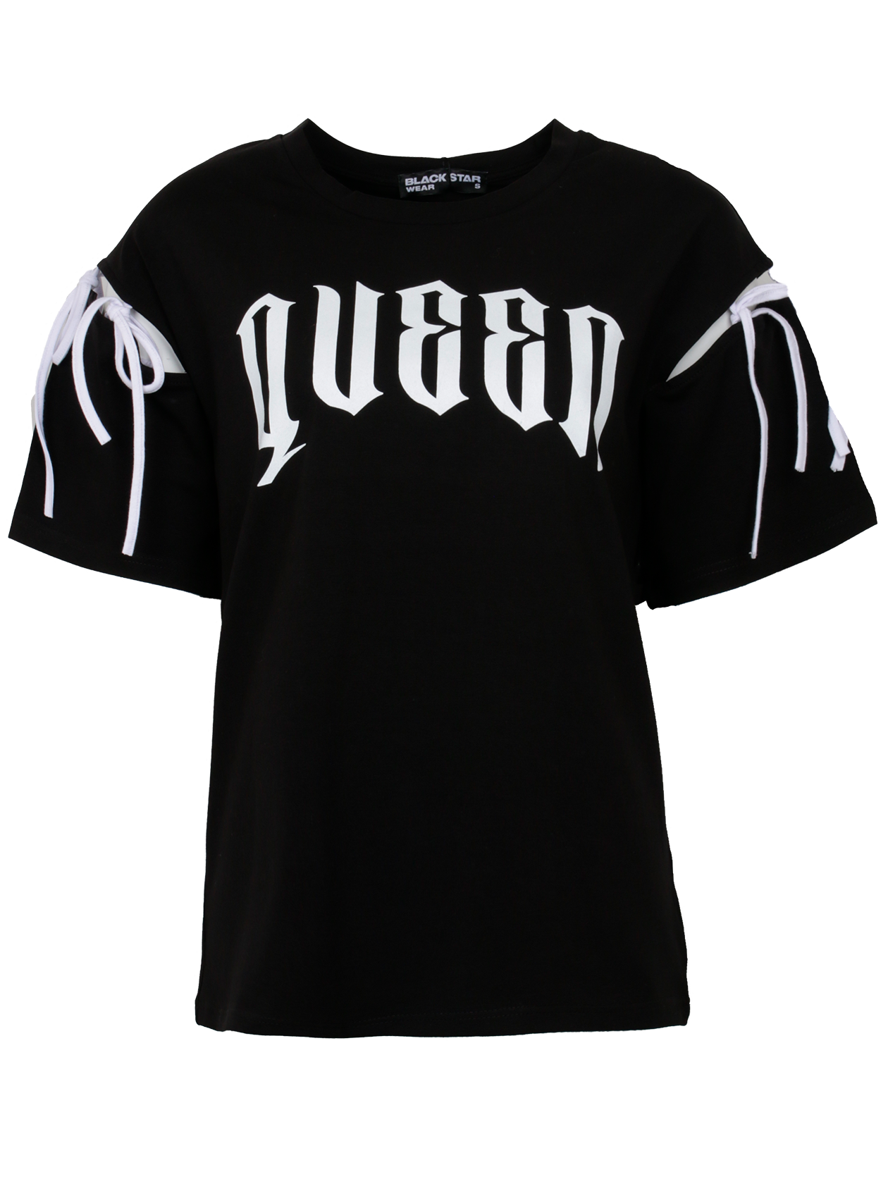Футболка женская QUEEN CLASSICСтильная женская футболка Queen из новой коллекции одежды Black Star. Модель представлена в классическом черном цвете. Превосходное качество изделия и свободный удобный крой не оставит равнодушным ни кого. Утонченный и лаконичный дизайн дополняет белая надпись на груди Queen необычного и очень стильного шрифта. Белая шнуровка на рукавах добавляет еще большую уникальность и без того неподражаемого дизайна данного изделия.<br><br>Размер: XS<br>Цвет: Черный<br>Пол: Женский