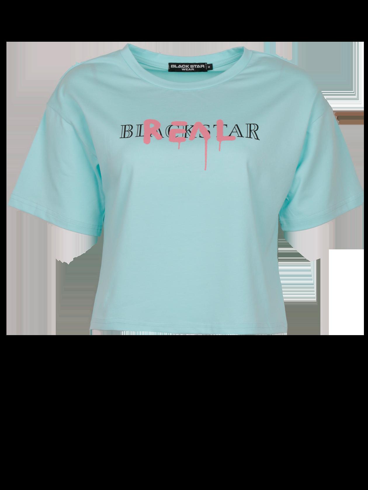 Футболка женская REAL BSСтильная женская футболкаREAL BS из новой коллекции Black Star Wear. Эта уникальная вещь покорит своим современным эффектным кроем. Модель свободного кроя с прямыми линиями, округлой горловиной, коротким рукавом и заниженной линией плеча. Сделает любой образ ярким и неповторимым.На груди яркий и в то же время не броский принт Black Star Real. Изделие изготовлено из натурального хлопка премиального качества. Станет не заменимой и любимой вещью женском гардеробе. Модель представлена нежном ментоловом цвете.<br><br>Размер: S<br>Цвет: Ментоловый<br>Пол: Женский