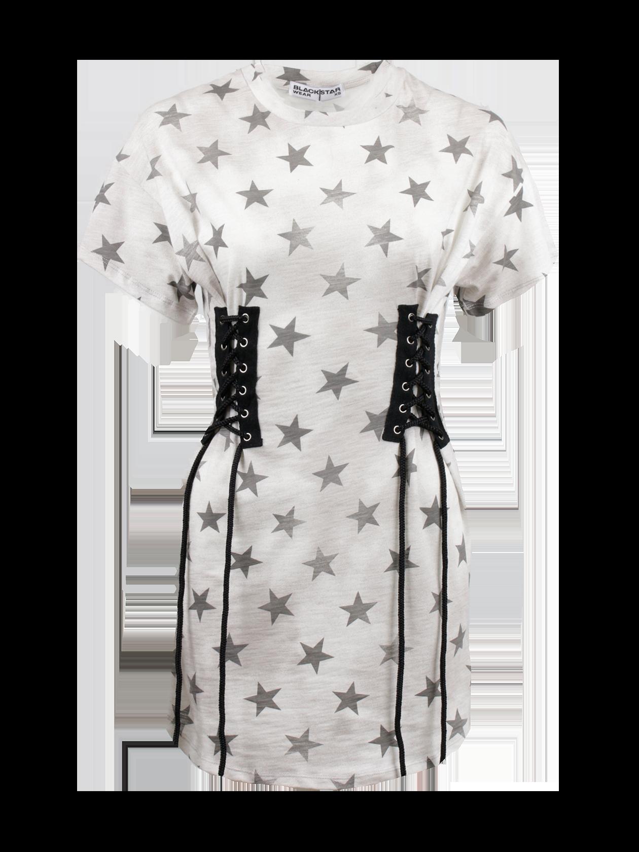 Платье женское CORSET STARЭффектное женское платьеCORSET STAR из коллекции Black Star Wear. Стильная модель свободного кроя с округлой горловиной и коротким просторным рукавом. На талии с обеих сторон изделие декорировано шнуровкой в виде корсета, что позволяет регулировать фасон и делать силуэт более приталенным. Еще большую женственность данного платья подчеркивает средняя длина и низ овального кроя. Привлекательный и стильный звездный окрас, ставший трендом этого сезона и отличительной чертой новой коллекции Black Star не оставит без внимания и подчеркнет индивидуальность обладательницы. Высококачественный 100 % хлопок создаст неповторимый комфорт при носке. Модель представлена в приятном сером оттенке.<br><br>Размер: S<br>Цвет: Серый<br>Пол: Женский