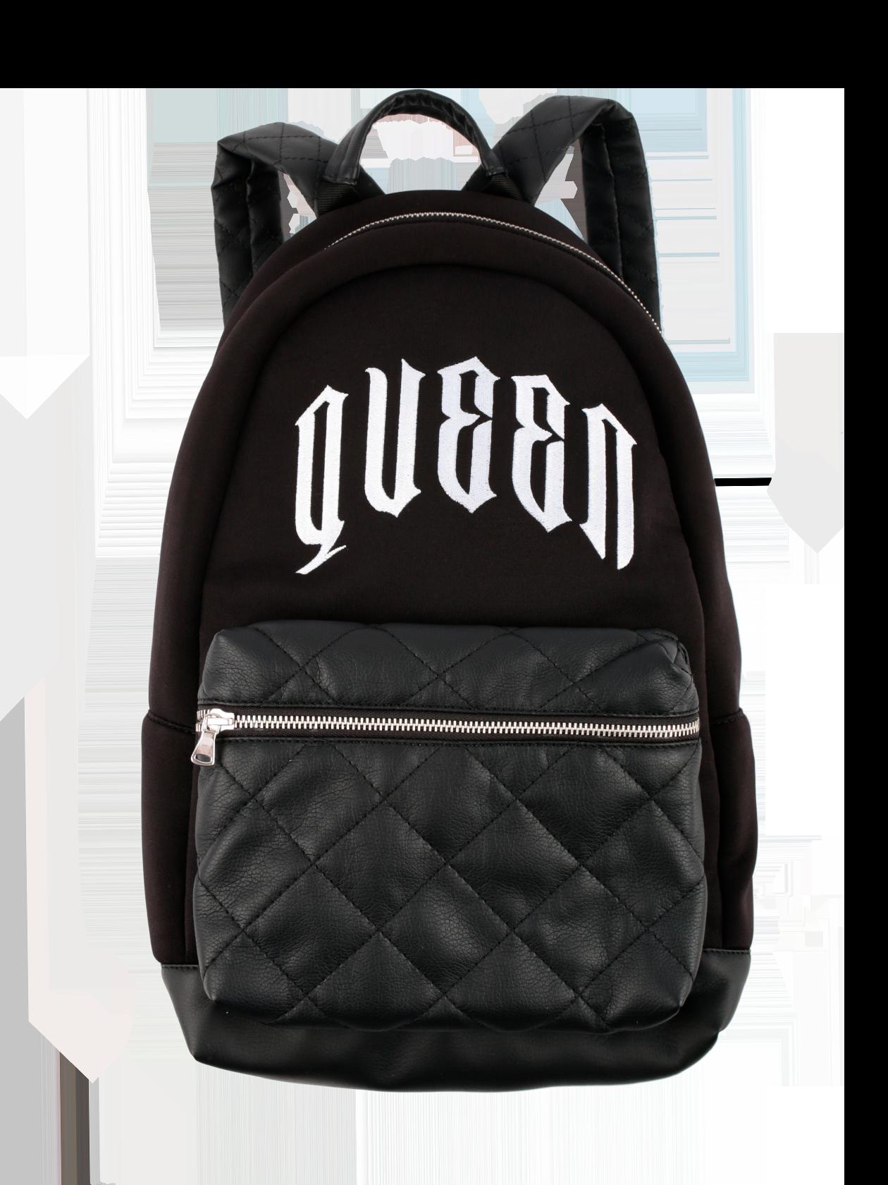 Рюкзак унисекс QUEEN 13Рюкзак унисекс Queen 13 от Black Star Wear – отличное решение для активных молодых людей. Удобная и вместительная модель с одним большим отсеком на молнии и небольшими боковыми карманами для мелочей. Аксессуар изготовлен из современной износостойкой ткани в черном цвете. Передний накладной карман на молнии, широкие ремешки для ношения на спине и удобная ручка выполнены из высококачественного кожаного материала, стеганного крупными ромбами. Дно изделия оформлено практичной кожей. Дизайн дополнен стильной надписью крупными белыми буквами Queen.<br><br>Размер: Единый размер<br>Цвет: Черный<br>Пол: Унисекс