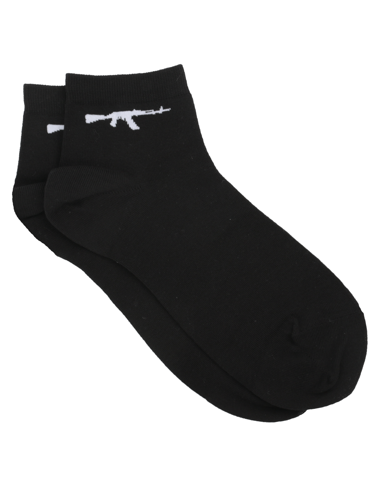 Носки унисекс GUNПрактичные и стильные носки унисекс Gun из коллекции Black Star Wear. Модель традиционного дизайна с коротким голенищем, оформленным высококачественной эластичной вставкой. Базовая черная расцветка подходит для каждодневного использования и сочетается с любой обувью. Дизайн дополнен эффектным принтом с автоматом по бокам. Носки сшиты из натурального хлопка премиального качества, обладают высокой износостойкостью. В комплекте представлены две пары.&amp;nbsp;<br><br>Размер: 36/38<br>Цвет: Черный<br>Пол: Унисекс