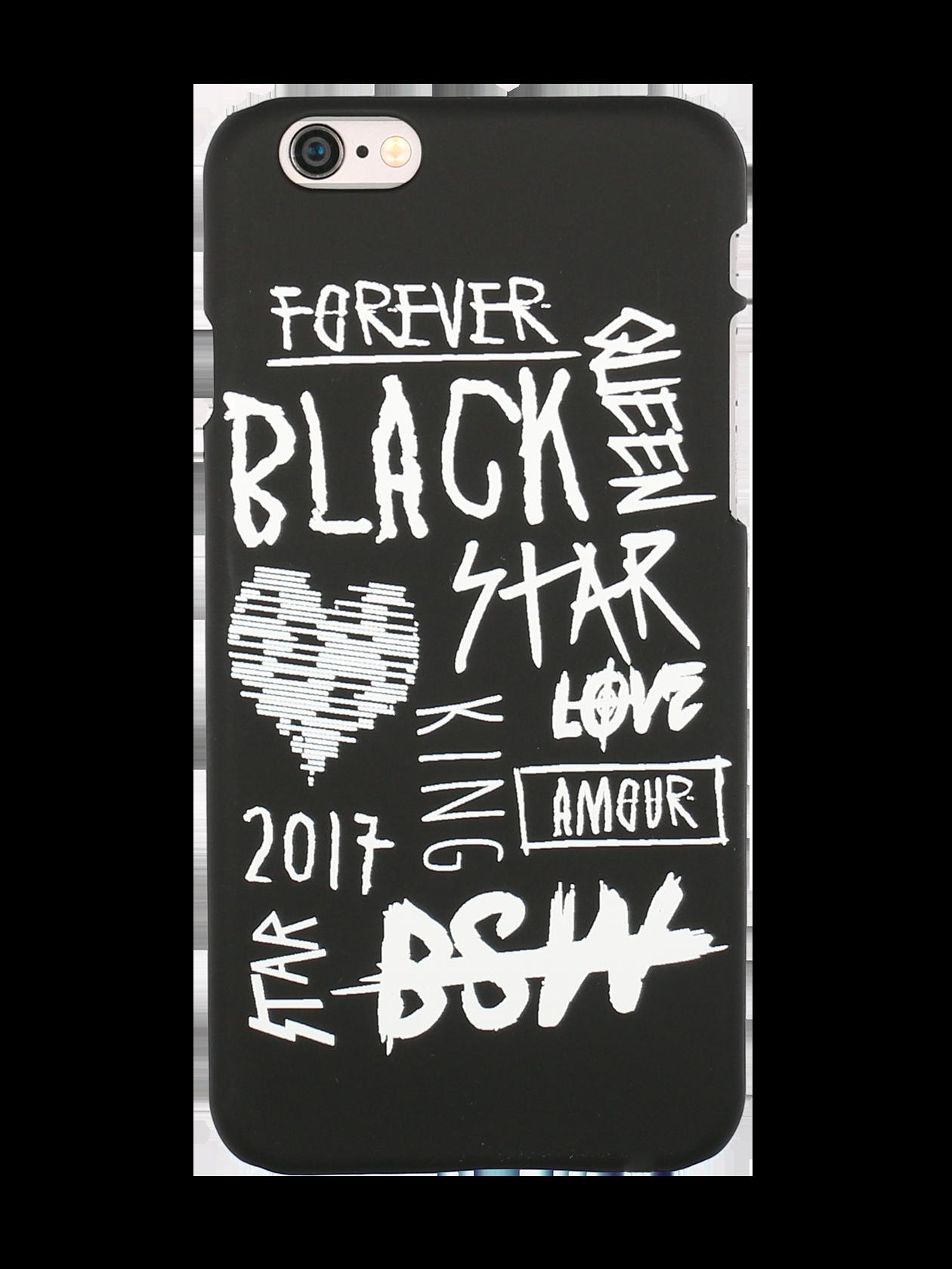 Чехол для телефона AMOURЧехол для телефона Amour  – яркий аксессуар и надежная защита любимого гаджета. Аксессуар изготовлен в виде задней стенки мобильного устройства, идеально повторяющей его контуры и предупреждающей попадание пыли. Выполнен из практичного пластика с матовой текстурой. По всему корпусу оформлены контрастные надписи и символы в стилистике Black Star. Изделие представлено в трех цветах – черном, красном, розовом.<br><br>Размер: 5<br>Цвет: Черный<br>Пол: Унисекс