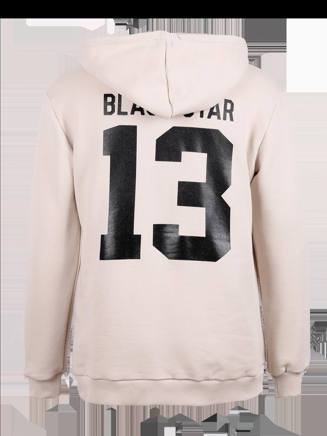 Костюм спортивный мужской BlackStar 13Костюм спортивный мужской Blackstar 13 в приятном цвете слоновой кости – стильная и практичная вещь в гардеробе активного мужчины. Толстовка с капюшоном на завязках удлиненного свободного кроя. Манжеты и нижний край отделаны эластичной трикотажной резинкой, на спине крупный принт Black Star 13. Штаны с широким поясом на завязках, снизу оформлены эластичным трикотажем. У левого кармана принт Black Star 13. Изделие из мягкого бленда хлопка и эластана отличается высоким качеством и носкостью.<br><br>Размер: L<br>Цвет: Бежевый<br>Пол: Мужской