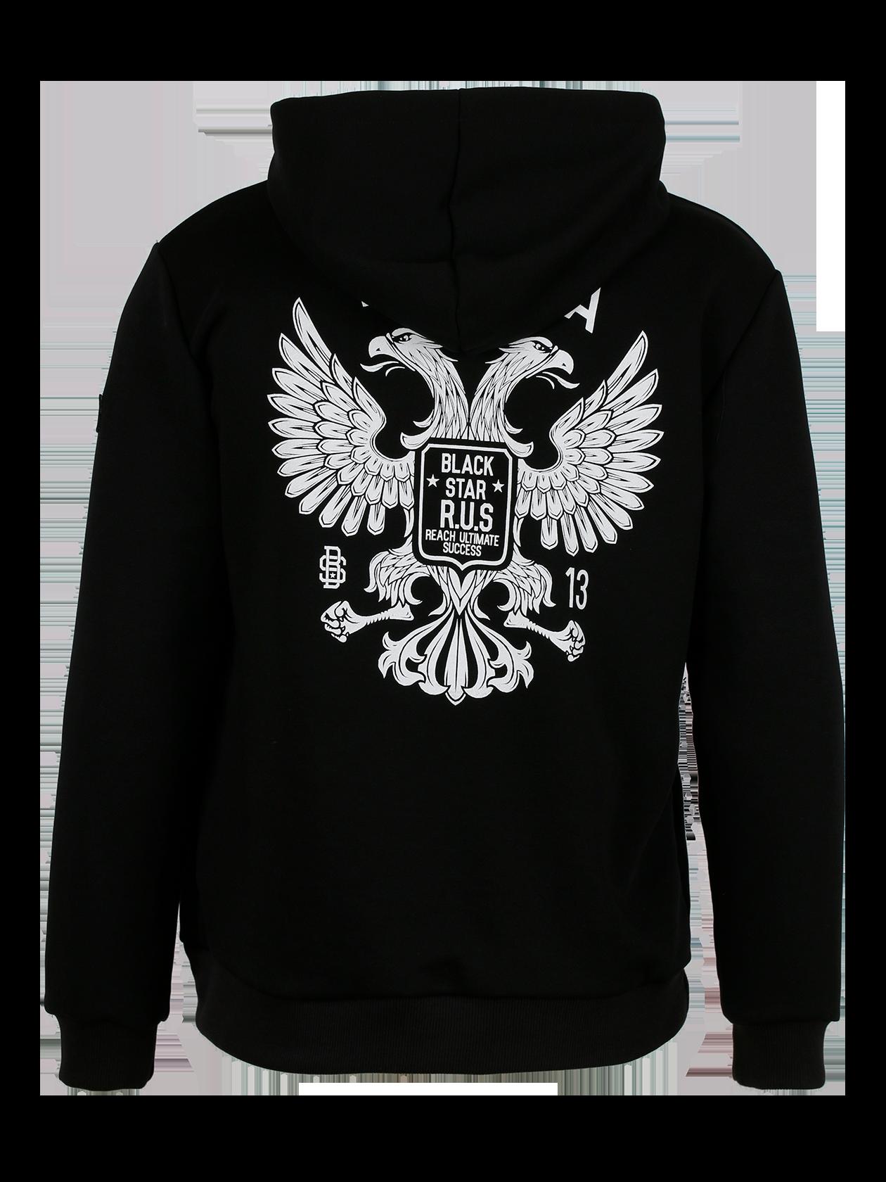 Mens sweatsuit RUSSIA GERBКостюм спортивный мужской Russia Gerb – для тех, кто заботится о своем стиле каждый день. Комплект выполнен в черном цвете, отличается практичностью за счет натурального футера. Толстовка со слитным капюшоном на завязках и вместительным карманом-кенгуру спереди. Прямой свободный крой дополнен широкими эластичными манжетами и низом для лучшей посадки. Джоггеры заужены к низу трикотажной резинкой. Широкий пояс хорошо фиксирует вещь по фигуре. На левом плече нашивка «российский триколор». Идеальный вариант для отдыха, спорта и повседневной жизни.<br><br>size: M<br>color: Black<br>gender: male