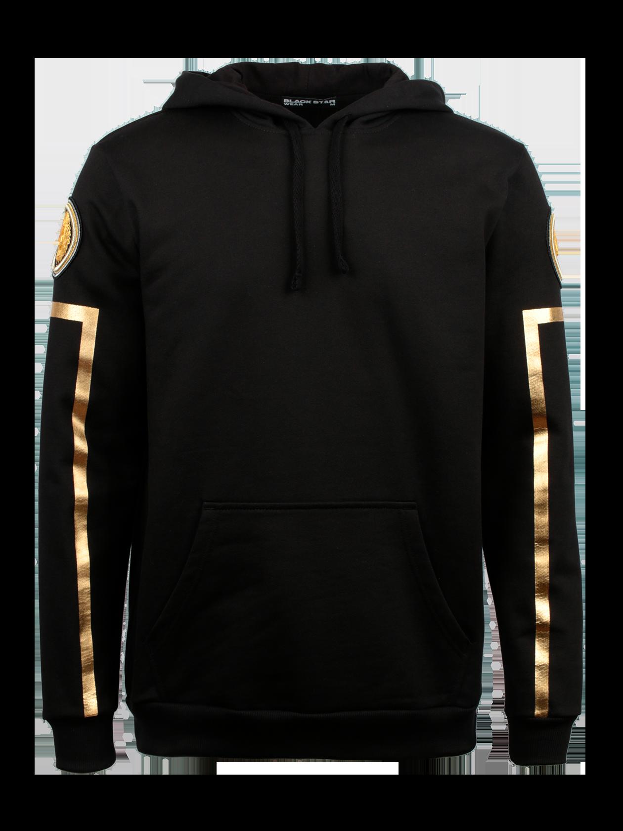 Костюм спортивный унисекс ROYALTY GOLDОригинальный и яркий костюм спортивный унисекс Royalty Gold из коллекции Black Star Wear. Комплект выполнен в практичном черном цвете, изготовлен из высококачественного бленда натурального хлопка, поэтому отлично подойдет в качестве базовой вещи. Верх в виде толстовки с капюшоном на завязках и карманом-трапецией. Рукава декорированы голографическими золотыми полосками и круглыми нашивками с символикой бренда Black Star. Брюки прямого, слегка зауженного кроя с фиксирующим поясом и голенищем.<br><br>Размер: L<br>Цвет: Черный<br>Пол: Мужской