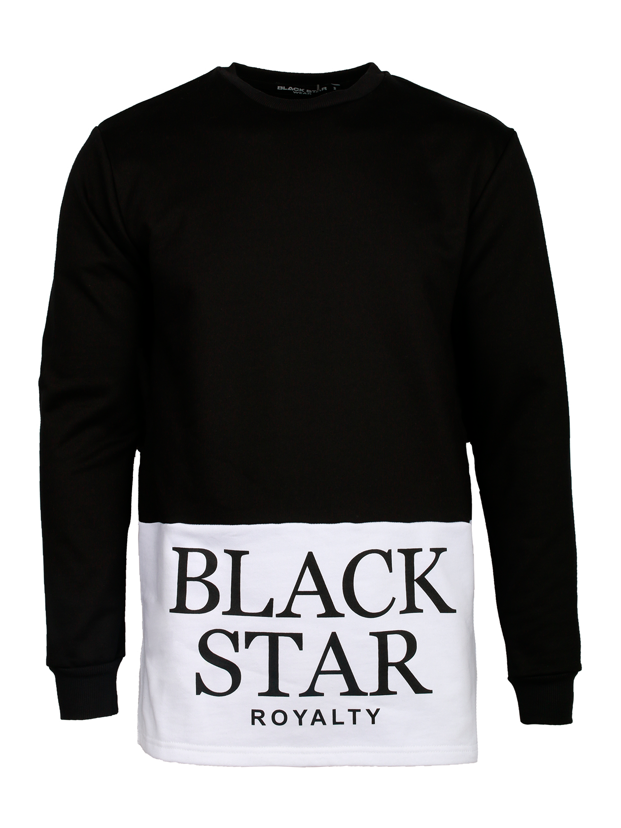 Толстовка мужская ROYALTY BLACK STARЭффектная мужская толстовка Royalty Black Star неординарного дизайна поможет разнообразить повседневный стиль. Модель прямого, свободного фасона с длинным рукавом. Верхняя часть, включая рукав, выполнена из черного материала, нижняя – из белой ткани с крупной контрастной надписью Royalty Black Star. Манжеты и край горловины оформлены высококачественной трикотажной резинкой. Толстовка изготовлена из бленда натурального хлопка класса «люкс».<br><br>Размер: S<br>Цвет: Черный<br>Пол: Мужской