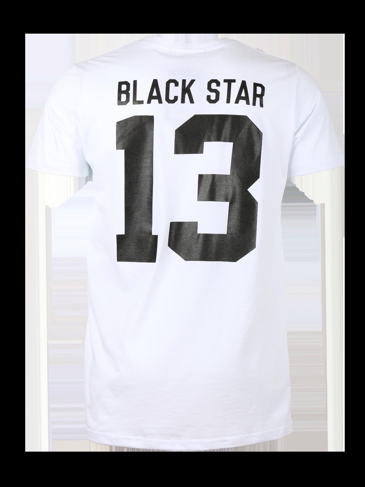 Mens t-shirt BLACK STAR 13Футболка мужская Black Star 13 из новой линии одежды Basic – базовая вещь для тех, кто стремится к стилю и комфорту каждый день. Модель простого удобного кроя с удлиненным полусвободным силуэтом и коротким рукавом. Изготовлена из высококачественного хлопка. Представлена в белой и черной расцветках. На спине заметная фирменная надпись Black Star 13 в контрастном цвете. Жаккардовый лейбл дополняет внутреннюю сторону горловины. Цена на изделие стала на 25% привлекательнее.<br><br>size: L<br>color: White<br>gender: unisex