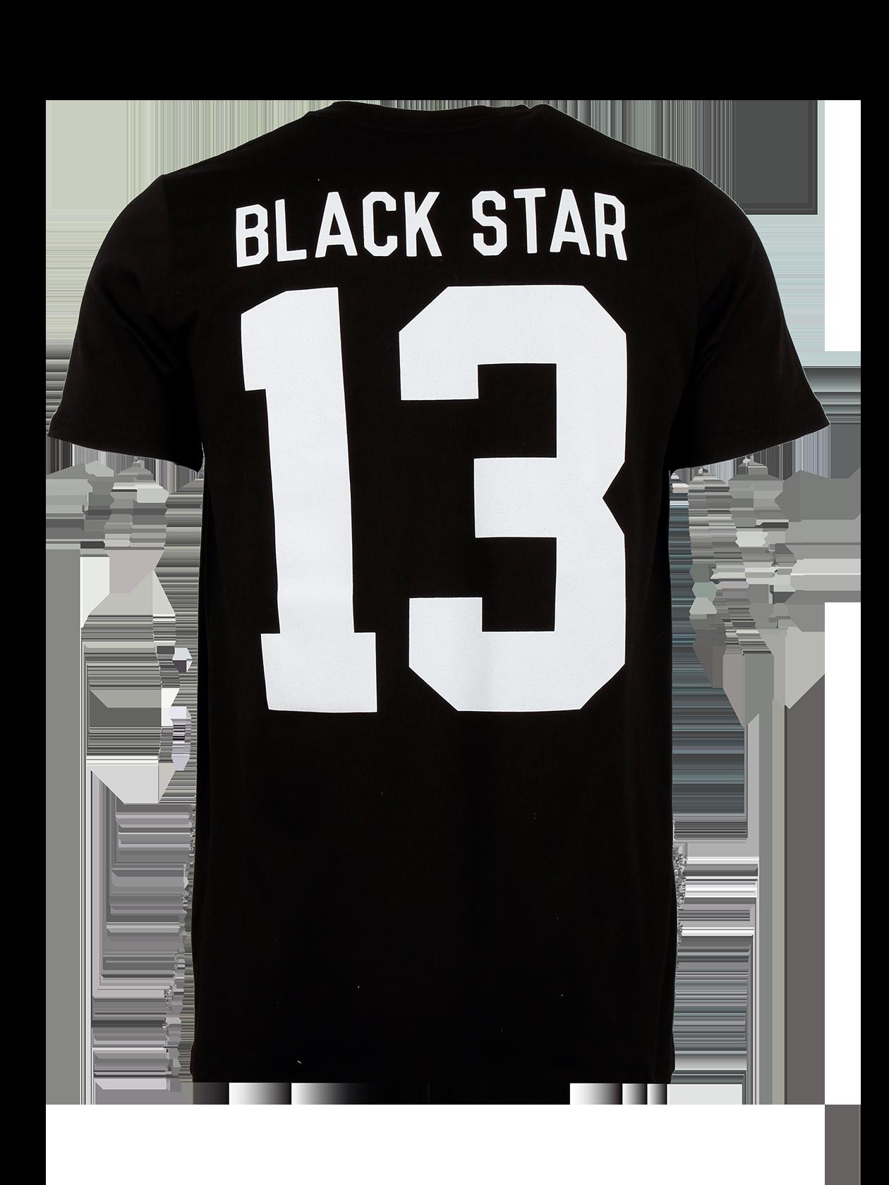 Футболка мужская BLACK STAR 13Футболка мужская Black Star 13 из новой линии одежды Basic – базовая вещь для тех, кто стремится к стилю и комфорту каждый день. Модель простого удобного кроя с удлиненным полусвободным силуэтом и коротким рукавом. Изготовлена из высококачественного хлопка. Представлена в белой и черной расцветках. На спине заметная фирменная надпись Black Star 13 в контрастном цвете. Стильный лейбл дополняет внутреннюю сторону горловины. Цена на изделие стала на 25% привлекательнее.<br><br>Размер: XS<br>Цвет: Черный<br>Пол: Унисекс
