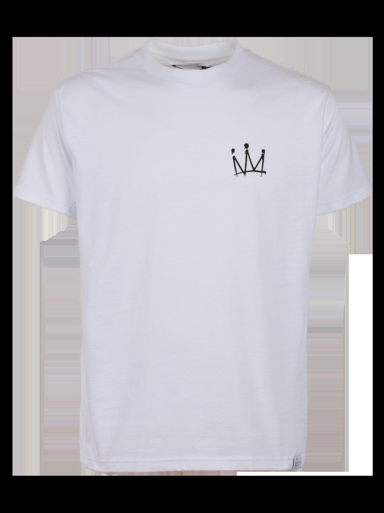 Unisex t-shirt MOT CROWNФутболка унисекс Мот Crown из капсульной коллекции популярного артиста Мота привлекает лаконичным и стильным дизайном. Модель классического прямого свободного кроя с коротким широким рукавом, создана из высококачественного хлопка. Узкая горловина отделана эластичной окантовкой, внутри лейбл бренда Black Star Wear. На груди оформлен принт в виде короны, внизу небольшая фирменная нашивка. Спинка декорирована пирамидой из корон и автографом Мота. Изделие доступно в двух расцветках: белой и черной.<br><br>size: M<br>color: White<br>gender: female
