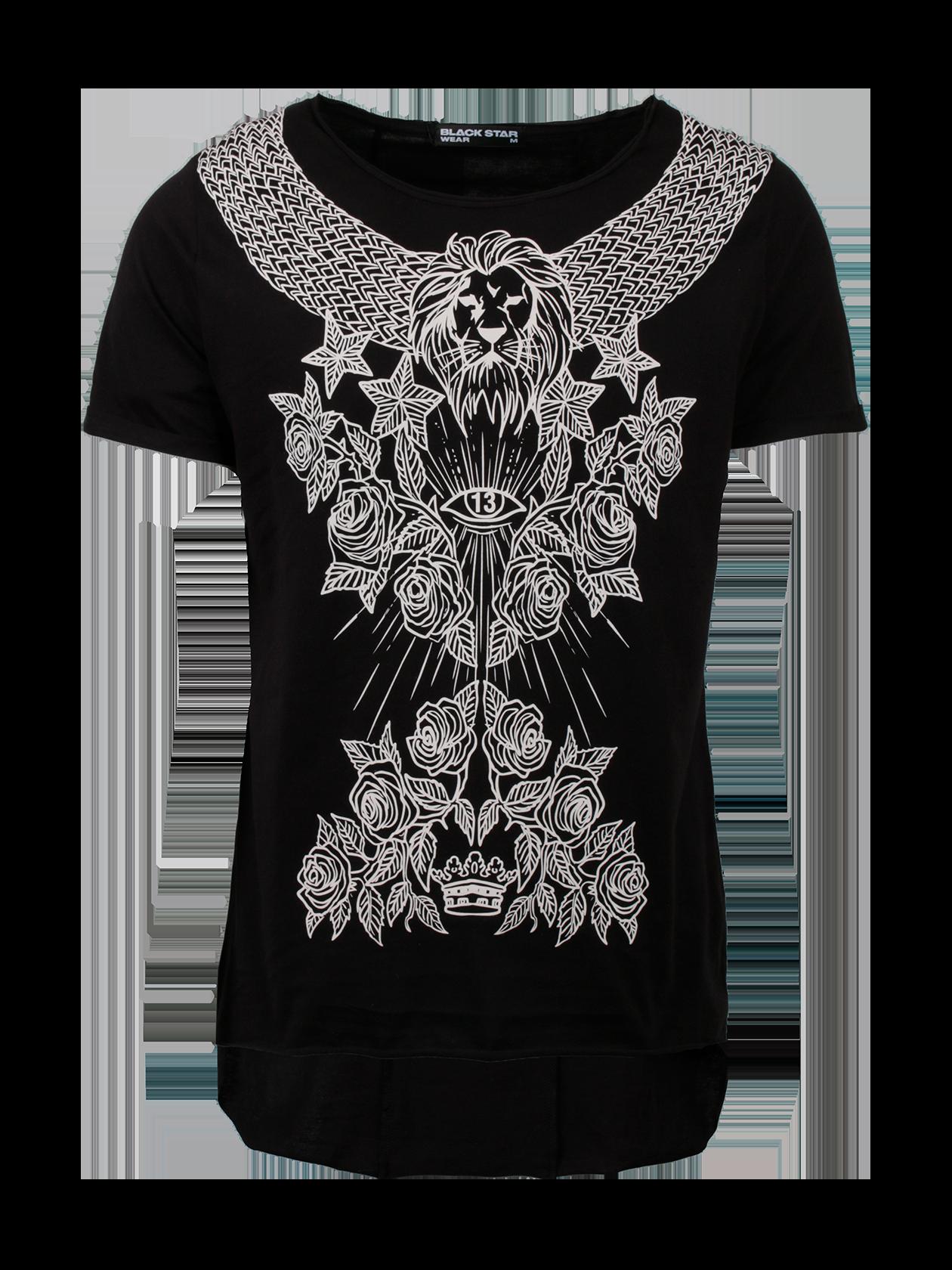 Футболка мужская PATTERN BLACK STARЧерная футболка мужская Pattern Black Star превратит обычный образ на каждый день в стильный лук. Удлиненная модель прямого свободного кроя с коротким рукавом. Горловина с вырезом средней глубины, внутри по спинке оформлен жаккардовый логотип бренда Black Star Wear. Передняя часть декорирована эффектным принтом с цветочным узором, орнаментом, головой льва, звездами и короной. Футболка изготовлена из высококачественного хлопка с дышащей структурой, подходит для активной и повседневной носки.<br><br>Размер: L<br>Цвет: Черный<br>Пол: Мужской