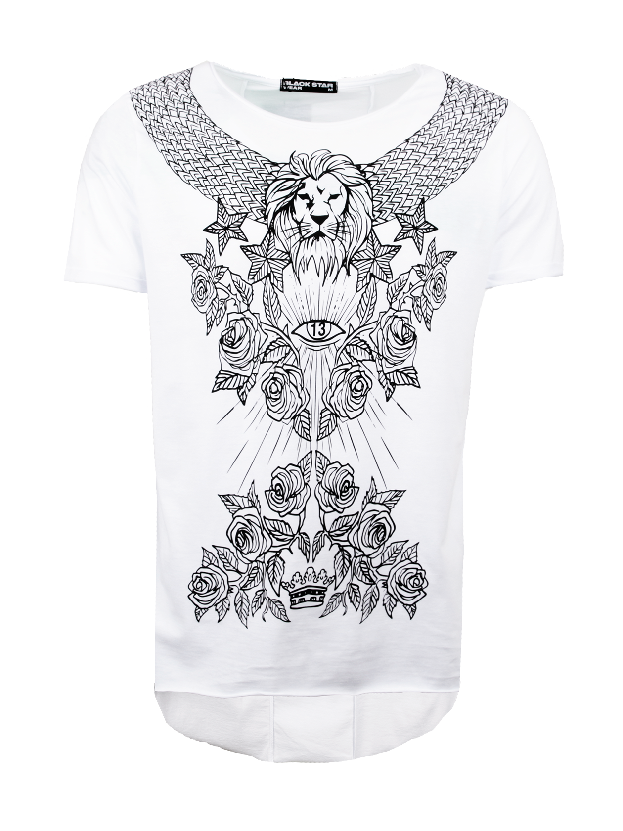 Футболка мужская PATTERN BLACK STARЧерная футболка мужская Pattern Black Star превратит обычный образ на каждый день в стильный лук. Удлиненная модель прямого свободного кроя с коротким рукавом. Горловина с вырезом средней глубины, внутри по спинке оформлен жаккардовый логотип бренда Black Star Wear. Передняя часть декорирована эффектным принтом с цветочным узором, орнаментом, головой льва, звездами и короной. Футболка изготовлена из высококачественного хлопка с дышащей структурой, подходит для активной и повседневной носки.<br><br>Размер: L<br>Цвет: Белый<br>Пол: Мужской