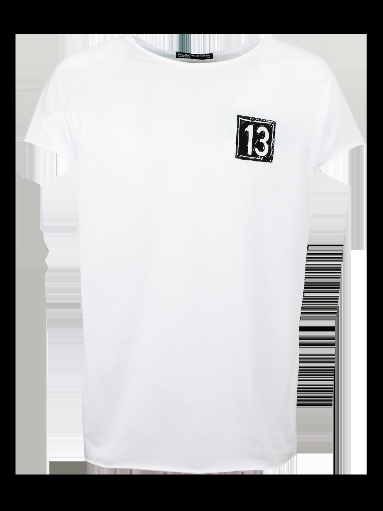 Футболка мужская DRAW BLACK STARУдобная футболка мужская Draw Black Star – идеальное решение для спорта и отдыха. Модель классического кроя с прямым, свободным силуэтом, дополнена коротким рукавом регланом. Неглубокая горловина содержит жаккардовую нашивку с логотипом бренда Black Star Wear на внутренней стороне спинки. Изделие представлено в базовой черной расцветке. На груди небольшой принт в виде белого квадрата с цифрой 13, вдоль центра спины оформлена декоративная белая полоска с надписью Black Star и звездами. Высококачественный хлопок обеспечивает отличный воздухообмен, создавая максимальный комфорт движений.<br><br>Размер: XS<br>Цвет: Белый<br>Пол: Мужской