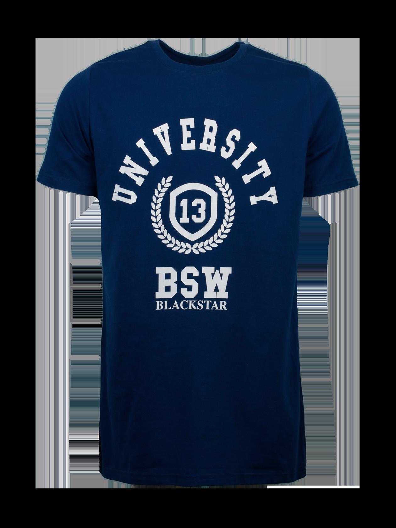 Футболка мужская UNIVERSITYФутболка мужская University 13 – стильное дополнение повседневного и спортивного лука. Лаконичный дизайн, универсальная темно-синяя расцветка. Крой традиционный прямой, свободный. Небольшой рукав, округлая горловина с фирменной нашивкой Black Star Wear внутри. Модель создана из люксового натурального хлопка, обеспечивающего безупречное качество вещи. Яркий акцент дизайна футболки – крупная надпись на спине Black Star 13 белым цветом с эффектом намазанной краски.&amp;nbsp;<br><br>Размер: M<br>Цвет: Синий<br>Пол: Мужской