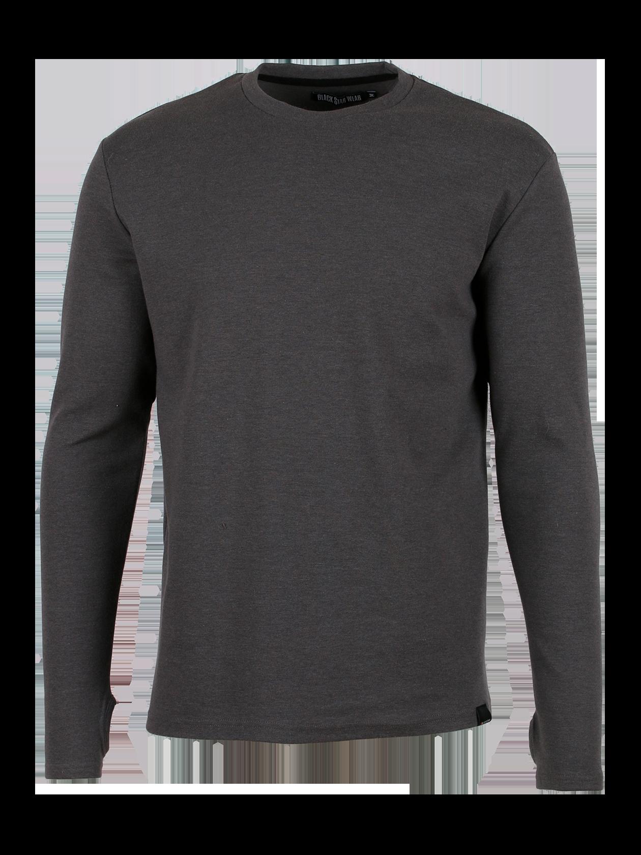 Mens long sleeve t-shirt RIB BLACK STARЛонгслив мужской Rib Black Star из линейки одежды Basic – незаменимая вещь в повседневном гардеробе. Модель лаконичного дизайна изготовлена из натурального износостойкого футера. Базовая серая расцветка актуальна в любом сезоне. Крой прямой, полуоблегающий. Узкая горловина округлой формы с жаккардовым логотипом Black Star Wear на внутреннем крае. Внизу с левого бока фирменная нашивка. Рукав дополнен выемкой для большого пальца. Стильный вариант на каждый день по демократичной цене.<br><br>size: M<br>color: Grey<br>gender: unisex