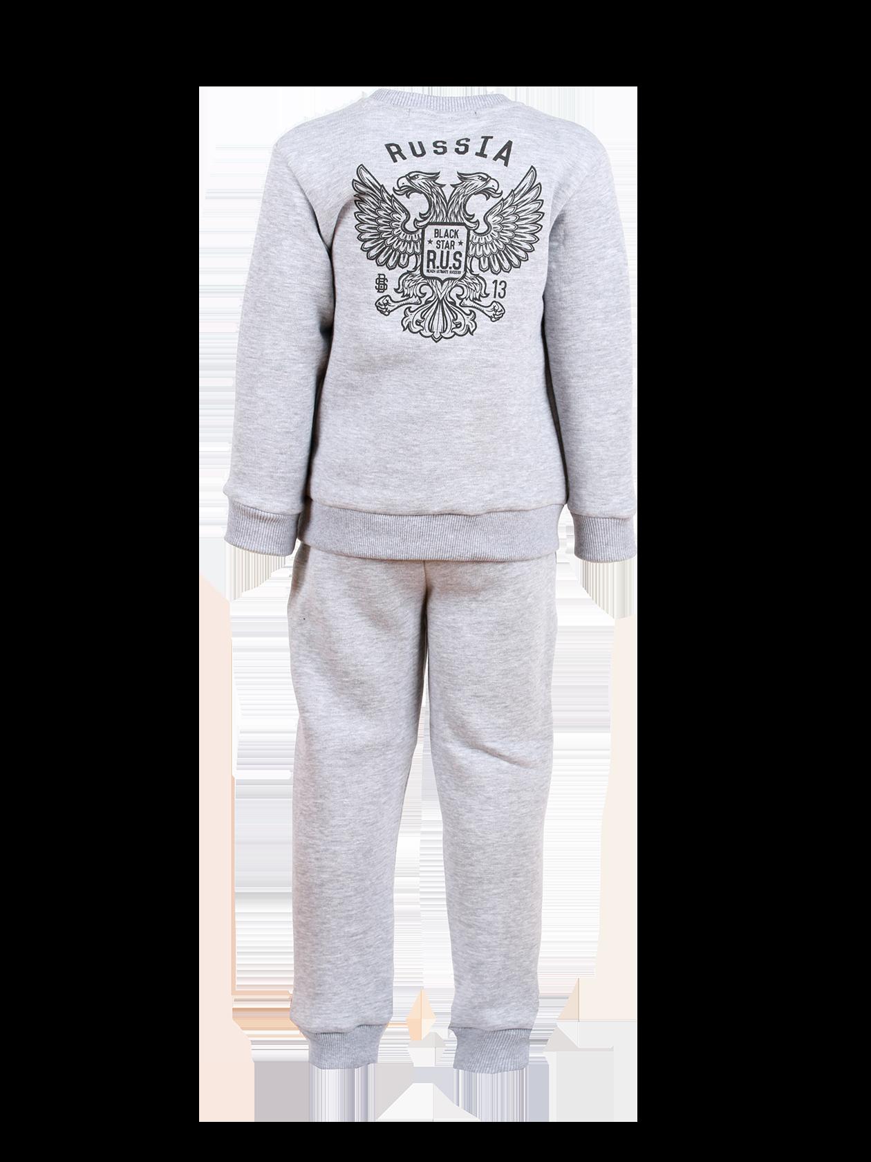 Kids tracksuit R.U.S. GERBКостюм спортивный детский R.U.S. GERB – базовая вещь в гардеробе любого ребенка. Прямой свободный крой модели сохранит активность и подарит комфорт при каждом движении. Комплект представлен свитшотом и зауженными брюками в цвете серый меланж. Нижний край и рукава толстовки, пояс и низ штанов оформлены широким трикотажным материалом на резинке. Эластичная горловина удобна при надевании изделия. На спине крупный принт в виде двуглавого орла и надписи Russia. Практичность и износостойкость обеспечена блендом натурального мягкого футера.<br><br>size: 7-8 years<br>color: Gray melange<br>gender: unisex