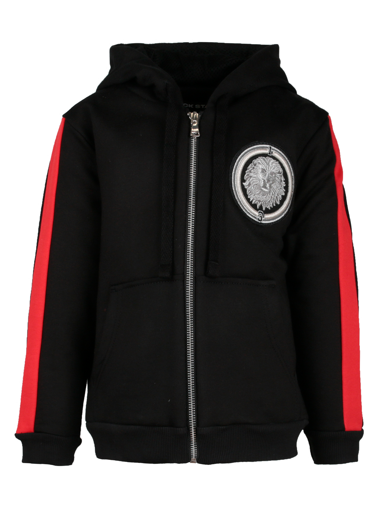 Костюм спортивный детский ROYALTY BLACK STARСтильный и практичный костюм спортивный детский Royalty Black Star станет незаменимой вещью в повседневном гардеробе. Лаконичная черная расцветка, дополненная красными вставками на рукавах, подходит для частой носки. Комплект представлен толстовкой на молнии с капюшоном и большими карманами. На груди оформлена круглая вышивка с головой льва в стилистике бренда Black Star. Манжеты и основание низа отделаны трикотажной резинкой высокого качества. Брюки имеют прямой силуэт, эластичный фиксирующий пояс и узкое голенище. Костюм спортивный создан из премиального хлопка.<br><br>Размер: 7-8 years<br>Цвет: Черный<br>Пол: Унисекс