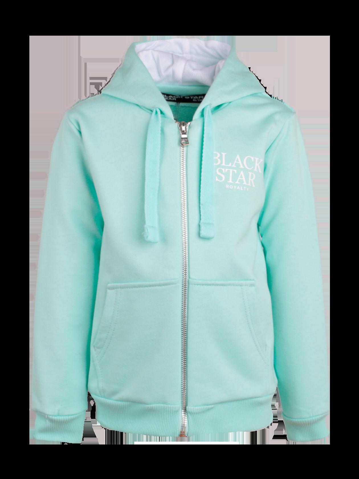 Толстовка детская ROYALTY BLACK STARПрактичная и удобная толстовка детская Royalty Black Star – отличное дополнение к гардеробу юных модников. Традиционный прямой крой, свободный силуэт. Объемный капюшон на подкладке, фиксирующие манжеты и низ изделия защитят от ветра и непогоды. Спереди серебристая застежка на молнии, накладные карманы. На груди контрастная надпись Black Star Royalty. Толстовка выполнена в приятной ментоловой расцветке, сшита из высококачественного мягкого футера.<br><br>Размер: 6 years<br>Цвет: Ментоловый<br>Пол: Унисекс