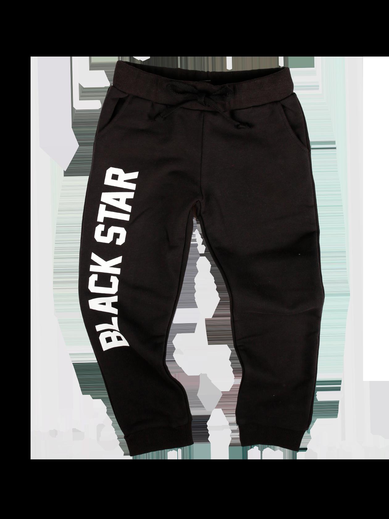 Kids trousers BIG PRINTДетские брюки BIG PRINT в черной расцветке – отличный выбор на каждый день. Премиальный хлопок, используемый при изготовлении модели, хорошо сохраняет вид после многочисленных стирок. Лаконичный свободный крой, прямой силуэт, сужающийся к низу, боковые внутренние карманы. Джоггеры имеют небольшой припуск, широкий пояс на резинке с завязками и эластичные вставки на щиколотках обеспечивают оптимальную посадку вещи. На правой штанине стильный принт BLACK STAR.<br><br>size: 5-6 years<br>color: Black<br>gender: unisex