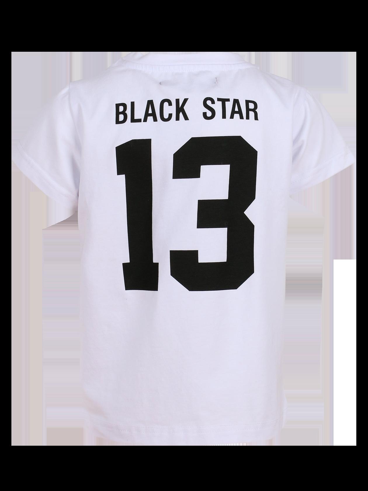 Футболка детская BLACK STAR 13Футболка детская Black Star 13 из новой линии одежды Basic – идеальное сочетание стиля, удобства и комфорта для активных непосед. Базовая модель белого цвета сшита из натурального премиального хлопка. Лаконичный дизайн, прямой свободный крой, укороченный рукав. На спине крупный принт в виде надписи Black Star 13. Внутри на горловине жаккардовый лейбл с логотипом бренда. Специальная цена вас приятно удивит.<br><br>Размер: 5-6 years<br>Цвет: Белый<br>Пол: Унисекс