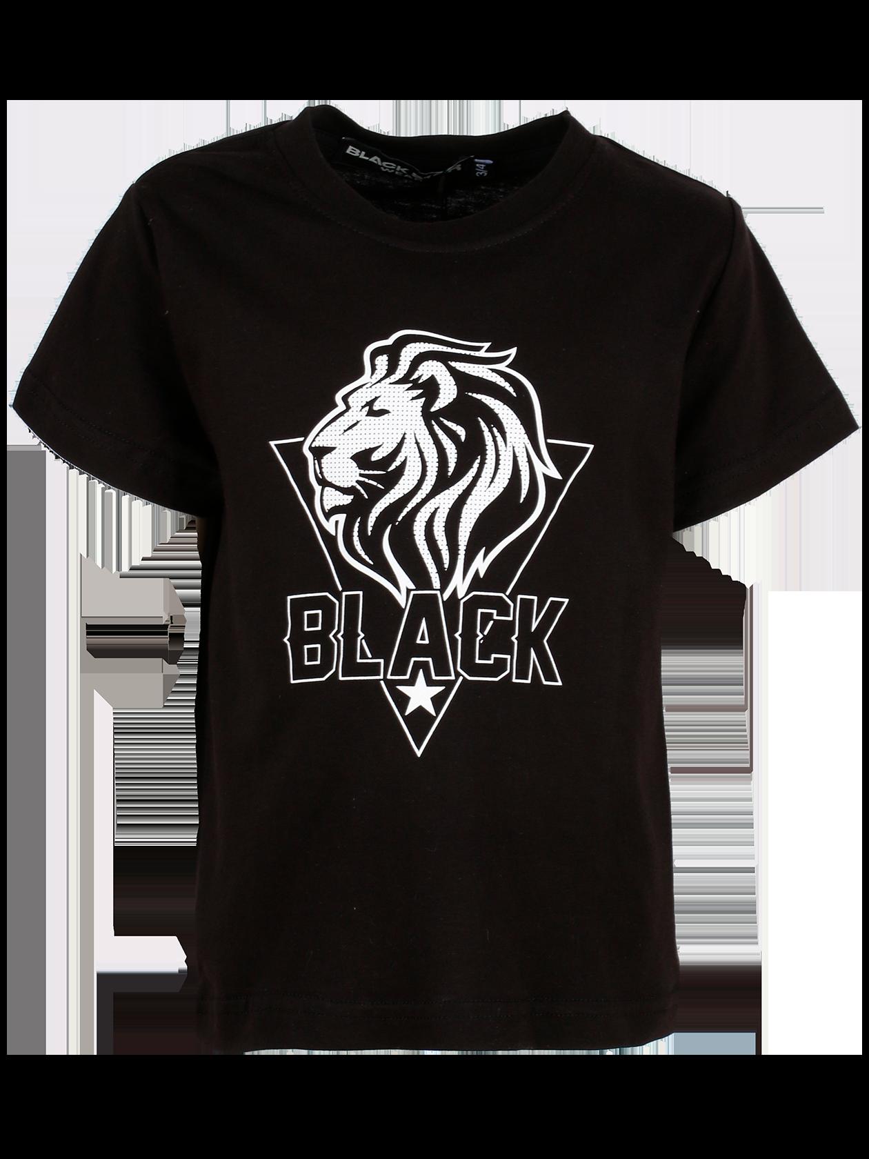 Kids t-shirt LION TEAMДетская футболка Lion Team – стильная и качественная вещь в гардеробе активных детей. Модель базового черного цвета отличается высокой практичностью за счет натурального хлопка. Прямой свободный крой с широким коротким рукавом. Яркая деталь дизайна – принт в виде головы льва в треугольнике и надписи Black на груди. Горловина оптимальной глубины с жаккардовым лейблом Black Star Wear внутри.<br><br>size: 5-6 years<br>color: Black<br>gender: unisex