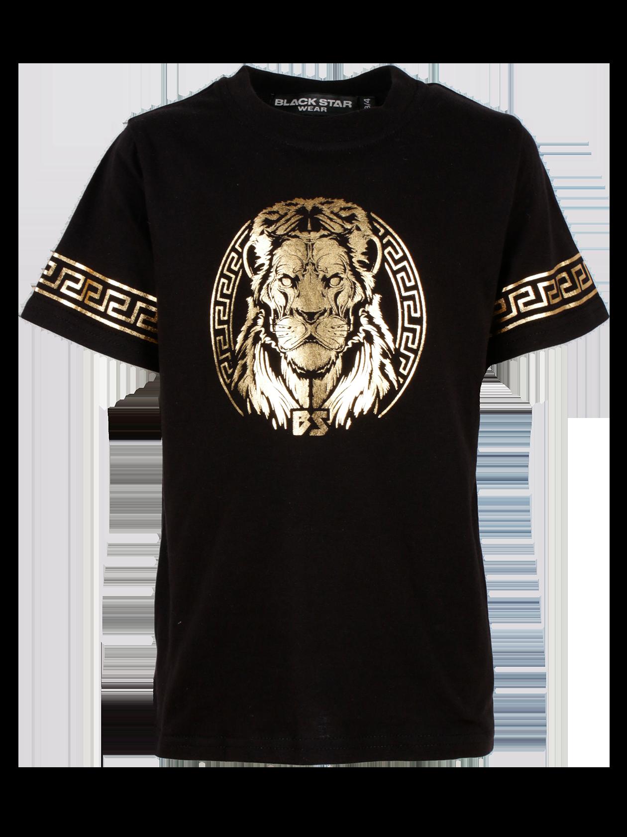 Kids t-shirt GOLD LIONФутболка детская Gold Lion – яркий и практичный атрибут гардероба активного непоседы. Изделие представлено в черном цвете с эффектным золотистым принтом «голова льва в круге и надписью BS». Модель удлиненного прямого кроя с широким коротким рукавом, дополненным греческим орнаментом. Вещь изготовлена из премиального натурального хлопка, подходит для частой носки. Отлично комбинируется с повседневной и спортивной одеждой.<br><br>size: 1-2 years<br>color: Black<br>gender: unisex