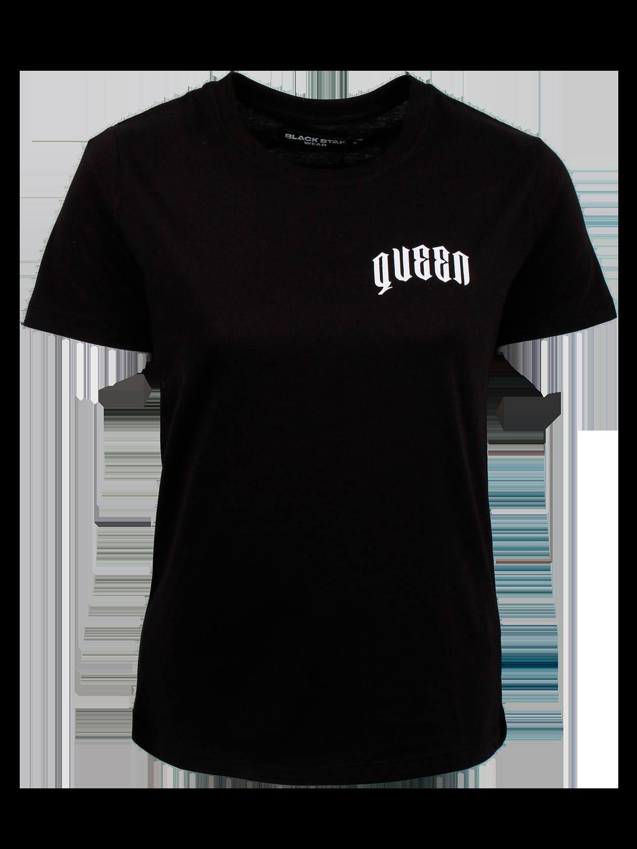 Футболка женская QUEENСтильная футболка женская Queen идеально впишется в повседневный и спортивный стиль. Модель представлена в практичной черной расцветке, обладает лаконичным кроем. Оптимальная длина, небольшой рукав, округлая горловина с эластичной окантовкой. Внутри имеется фирменная нашивка с логотипом бренда Black Star Wear. Дизайн дополнен контрастными надписями белыми буквами Queen 13 на спине и на груди. Футболка изготовлена из натурального хлопка класса «премиум».<br><br>Размер: M<br>Цвет: Черный<br>Пол: Женский