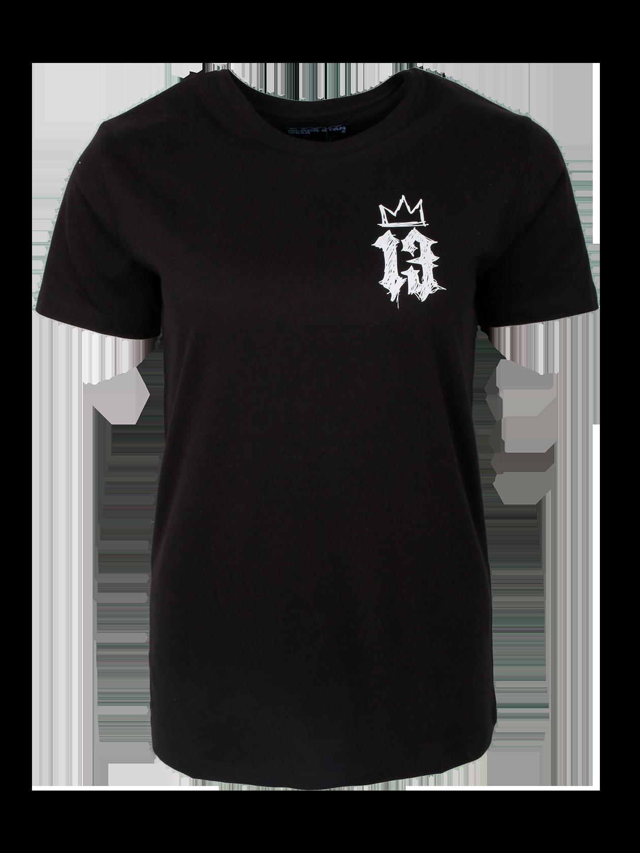 Футболка женская CROWN 13Стильная футболка женская Crown 13 из коллекции Black Star идеально впишется в любой гардероб. Изделие традиционного дизайна изготовлено из первоклассного 100% хлопка. Фасон прямой, силуэт полуприлегающий. Небольшой рукав и круглая горловина с жаккардовым логотипом Black Star Wear с внутренней стороны. Примечательная деталь – контрастный принт на груди с цифрой 13 и короной в оригинальном изображении. Футболка доступна в двух расцветках – белой и черной.<br><br>Размер: M<br>Цвет: Черный<br>Пол: Женский