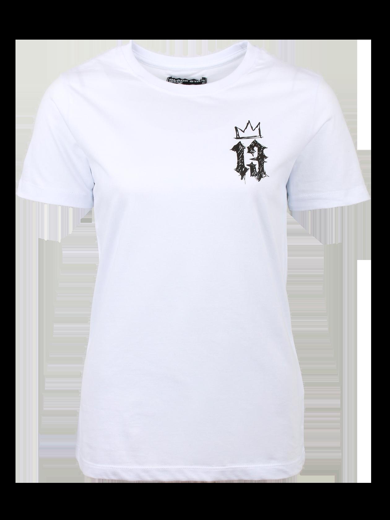 Футболка женская CROWN 13Стильная футболка женская Crown 13 из коллекции Black Star идеально впишется в любой гардероб. Изделие традиционного дизайна изготовлено из первоклассного 100% хлопка. Фасон прямой, силуэт полуприлегающий. Небольшой рукав и круглая горловина с жаккардовым логотипом Black Star Wear с внутренней стороны. Примечательная деталь – контрастный принт на груди с цифрой 13 и короной в оригинальном изображении. Футболка доступна в двух расцветках – белой и черной.<br><br>Размер: M<br>Цвет: Белый<br>Пол: Женский