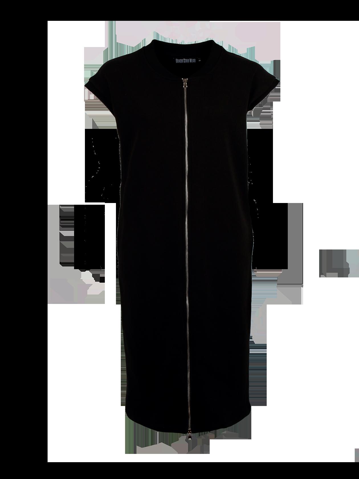 Платье-бомбер женское BASIC VESTПлатье-бомбер женское Basic Vest – актуальная вещь для создания стиля на каждый день. Модель прямого свободного кроя с длиной чуть ниже колена. Практичная черная расцветка, лаконичный дизайн позволят сочетать платье-бомбер с любой обувью. Край короткого рукава и горловины отделан эластичной резинкой, по центру переда – серебристая застежка-молния. На внутренней стороне спинки у ворота содержится фирменная нашивка с эмблемой Black Star Wear. Изделие сшито из высококачественного материала на основе натурального хлопка.<br><br>Размер: M<br>Цвет: Черный<br>Пол: Женский