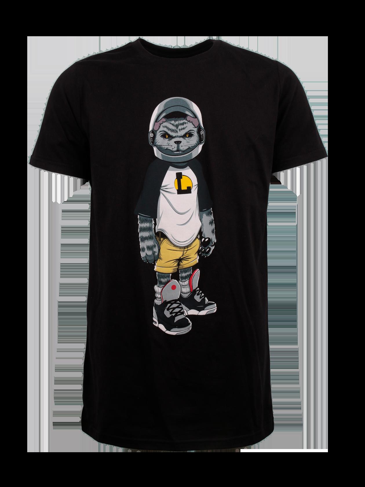 Футболка унисекс CATЯркая футболка унисекс Cat с оригинальным принтом в виде кота в шлеме – стильная вещь из мерча популярного артиста L`one Гравитация. Модель базовой черной расцветки отлично комбинируется с повседневным и спортивным гардеробом. Изделие прямого свободного фасона с удлиненным силуэтом. Горловина круглой формы, для удобства надевания оформлена эластичным кантом, внутри жаккардовая нашивка с логотипом Black Star Wear. Созданная из натурального хлопка премиального качества, футболка выделяется высокой практичностью.<br><br>Размер: M<br>Цвет: Черный<br>Пол: Женский