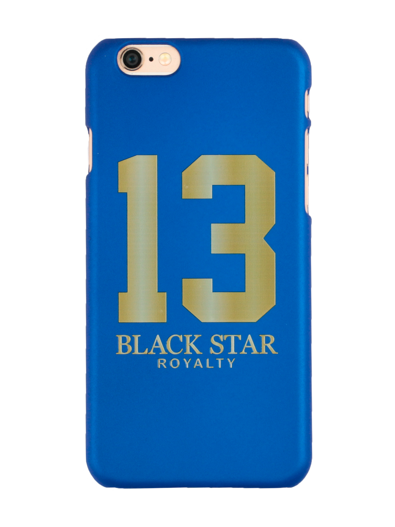 Чехол для телефона 13 GOLDЧехол для телефона 13 Gold из коллекции Black Star Wear – яркое дополнение любимого гаджета. Аксессуар используется в качестве задней стенки мобильного устройства, полностью повторяя его форму. Выполнен из прочного пластика, способного защитить корпус телефона от повреждений и попадания пыли. Чехол представлен в синем цвете, дизайн дополнен стильным принтом с цифрой 13 и надписью «Black Star Royalty».<br><br>Размер: 5<br>Цвет: Синий<br>Пол: Унисекс