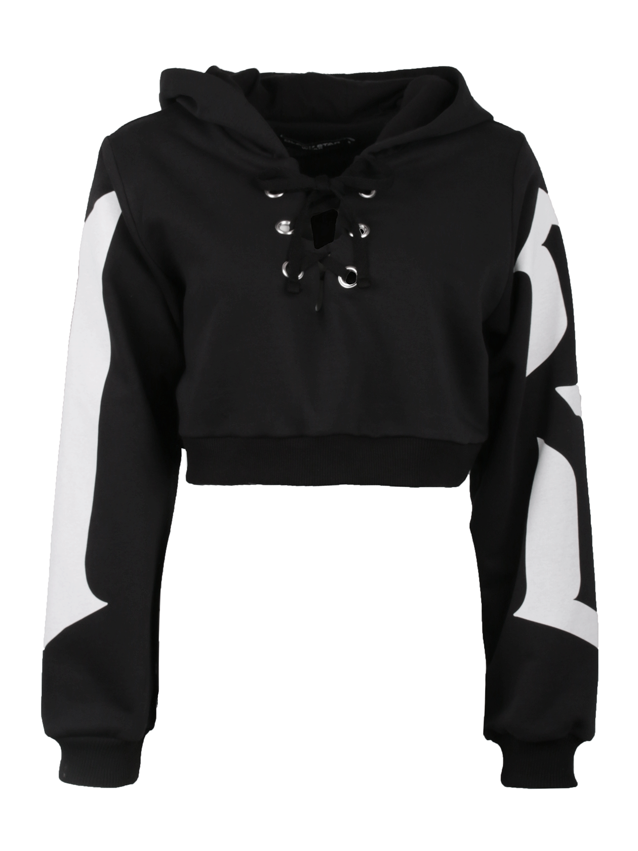 Костюм спортивный женский QUEEN 13Эффектный костюм спортивный женский Queen 13 для создания стильного повседневного образа. Модель оригинального дизайна с укороченным до линии талии верхом и прямыми зауженными брюками полусвободного силуэта. Толстовка с капюшоном, длинным рукавом с эластичными манжетами и глубоким вырезом горловины, дополненным интересной шнуровкой и фурнитурой. На внутренней стороне спинки лейбл Black Star Wear. На рукавах крупный принт с цифрой 13, на спине надпись Queen. Комплект представлен в базовом черном цвете, сшит из хлопкового полотна класса «люкс».&amp;nbsp;<br><br>Размер: M<br>Цвет: Черный<br>Пол: Женский