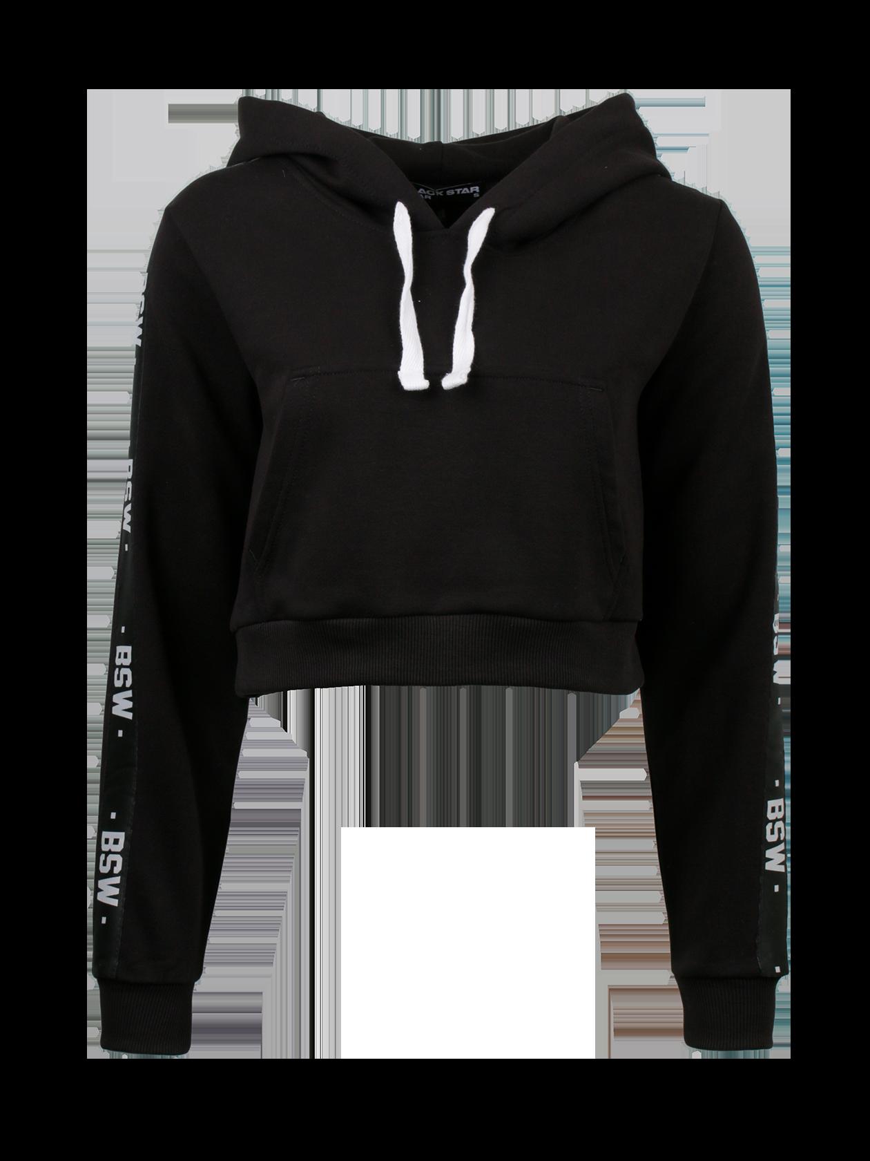 Костюм спортивный женский BSW STRIPEОригинальный костюм спортивный женский BSW Stripe для активных девушек, которые любят быть в центре внимания. Комплект представлен в лаконичной черной расцветке, создан из первоклассного натурального футера. Верх в виде укороченной свободной толстовки, открывающей живот. Объемный капюшон дополнен белыми завязками, спереди большой накладной карман. Длинный рукав содержит вставки с надписями BSW. Брюки прямого кроя с эластичным поясом и голенищем, заужены к нижней части. Оптимальный вариант для спорта и отдыха.<br><br>Размер: L<br>Цвет: Черный<br>Пол: Женский