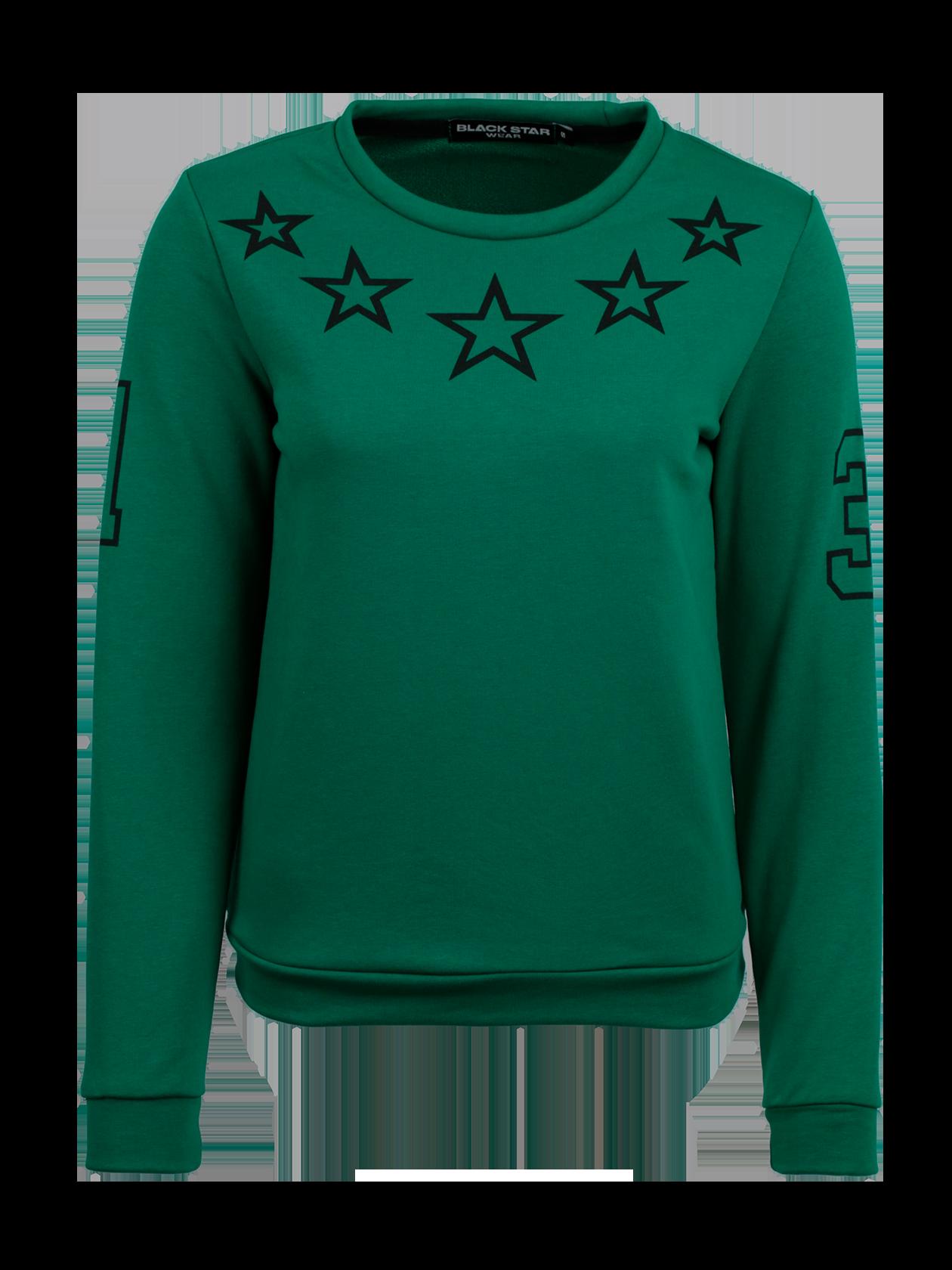 Толстовка женская STARSТолстовка женская из коллекции Black Star Wear. Прямой крой, округлая горловина, манжеты и нижний край не эластичные. Принт с изображением звёзд на груди, цифра 1 на правом рукаве и 3 на левом. Материал изделия: бленд натурального хлопка. Модель доступна в коралловом, белом, зелёном и сером цветах.<br><br>Размер: M<br>Цвет: Зеленый<br>Пол: Женский