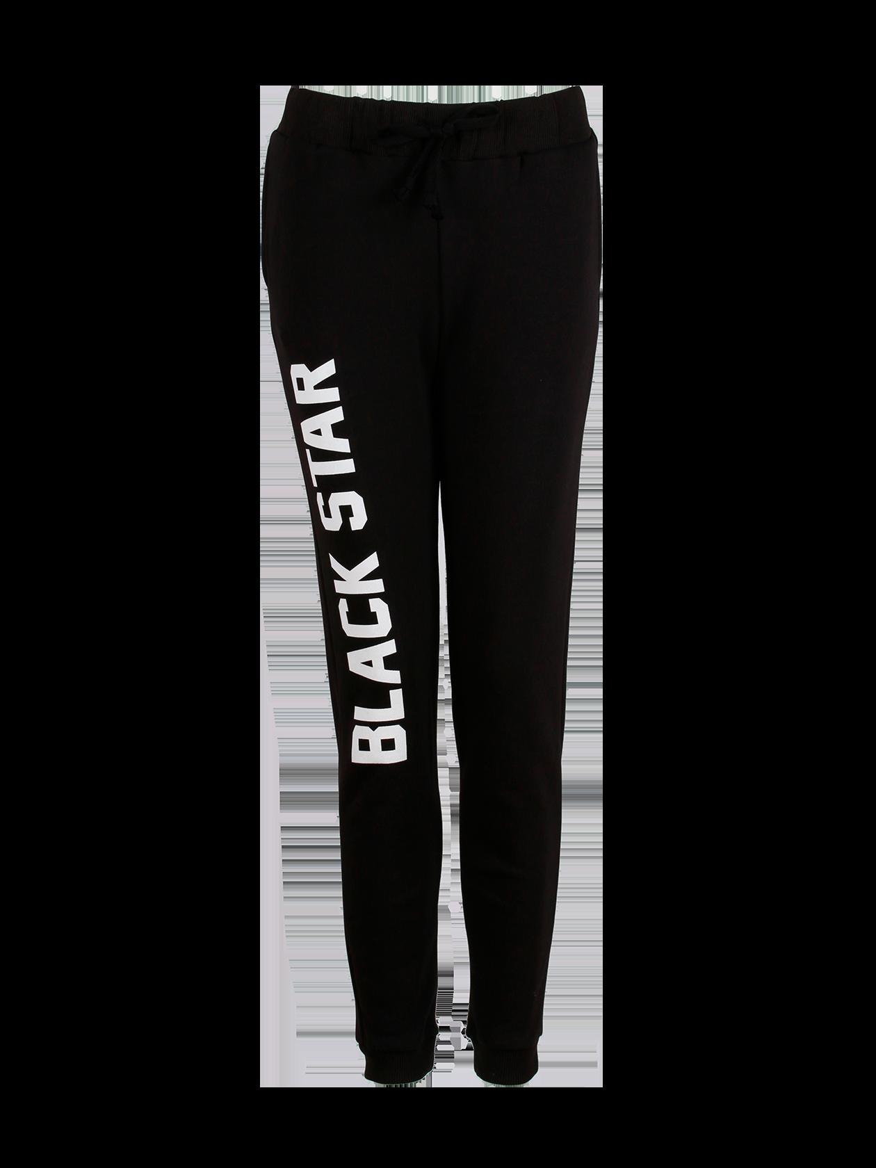 Womens Trousers BIG PRINTСпортивные женские брюки Big Print – вещь, достойная стать частью вашего гардероба. Лаконичный дизайн, качественный натуральный материал, приятный к телу, сохранит свободу в каждом движении. Передняя часть оформлена контрастным принтом в виде белой надписи Black Star. Эластичный пояс и манжеты обеспечат идеальную посадку по фигуре. Модель практичного черного цвета с зауженным к низу кроем.<br><br>size: L<br>color: Black<br>gender: female