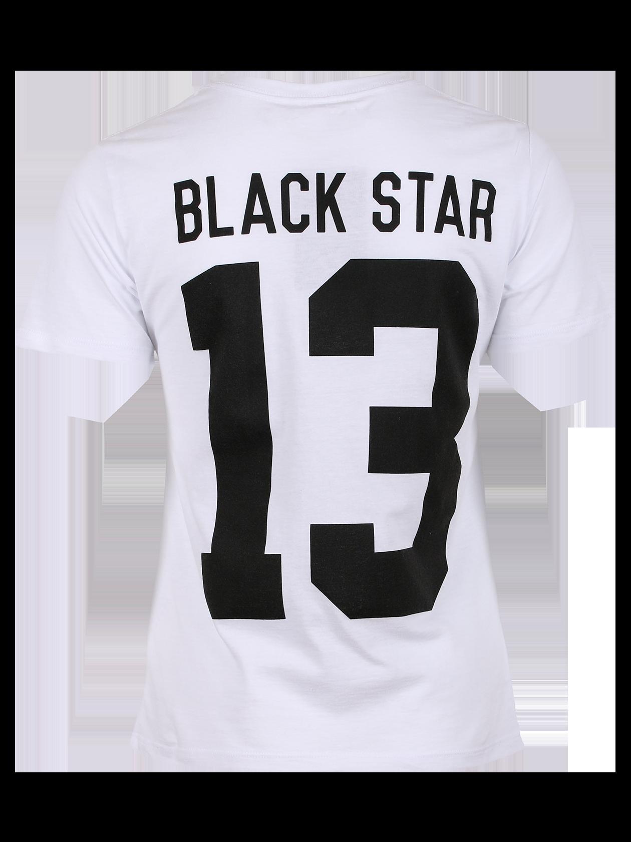 Футболка женская BLACK STAR 13Футболка женская Black Star 13 из новой линии одежды Basic – прекрасный выбор для создания стиля на каждый день. Модель представлена в базовых расцветках – белой и черной, дополнена крупной надписью на спине Black Star 13. Дизайн лаконичный, крой классический с прямыми линиями, полусвободный силуэт. Премиальный натуральный хлопок гарантирует удобство и комфорт. Специальная демократичная цена изделия вас приятно удивит.<br><br>Размер: S<br>Цвет: Белый<br>Пол: Женский