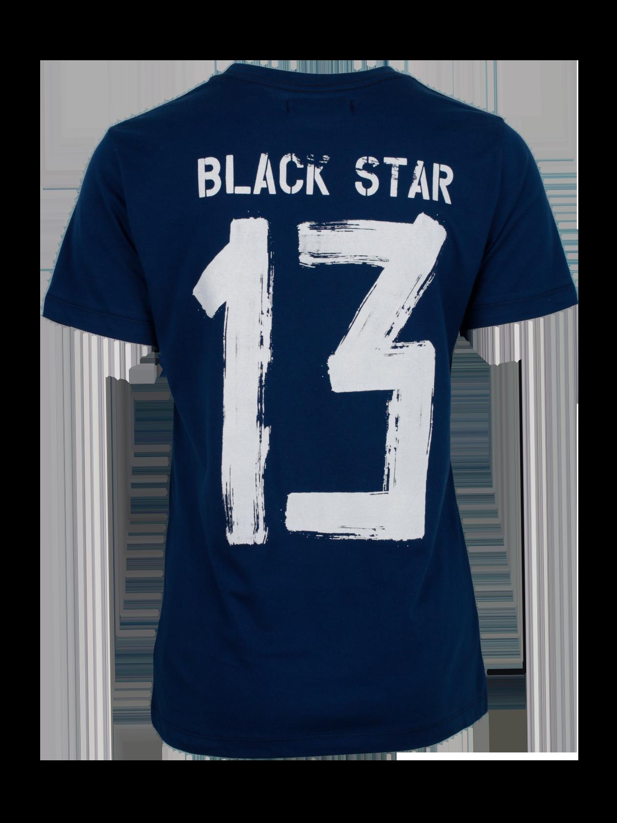 Футболка женская UNIVERSITY 13Стильная футболка женская University 13 – оптимальный вариант для создания стиля на каждый день. Модель базового типа с прямым свободным кроем и небольшим рукавом. Горловина округлая, содержит жаккардовую фирменную нашивку с логотипом бренда BSW. Декоративный элемент – принт на спине в виде вымазанной краской надписи Black Star 13. Футболка сделана из первоклассного натурального хлопка, обладающего высокими практичными свойствами. Изделие доступно в темно-синем цвете.<br><br>Размер: L<br>Цвет: Синий<br>Пол: Женский