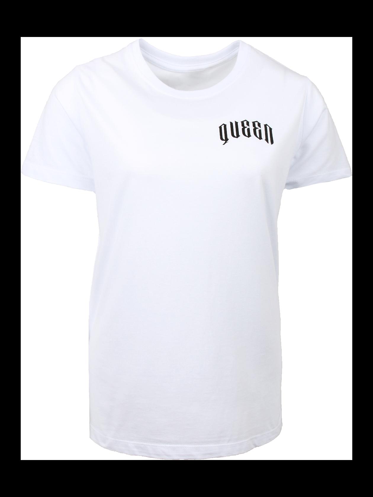 Футболка женская QUEENСтильная футболка женская Queen идеально впишется в повседневный и спортивный стиль. Модель представлена в практичной черной расцветке, обладает лаконичным кроем. Оптимальная длина, небольшой рукав, округлая горловина с эластичной окантовкой. Внутри имеется фирменная нашивка с логотипом бренда Black Star Wear. Дизайн дополнен контрастными надписями белыми буквами Queen 13 на спине и на груди. Футболка изготовлена из натурального хлопка класса «премиум».<br><br>Размер: L<br>Цвет: Белый<br>Пол: Женский