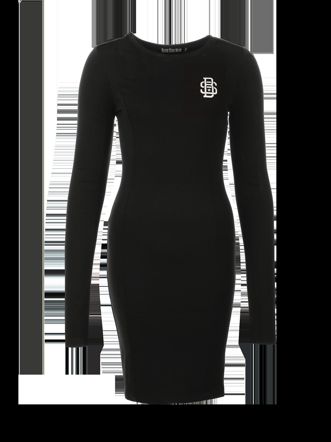 Платье женское BS 13Платье женское BS 13 из новой линии одежды Basic вдохновит на создание повседневного стиля. Модель лаконичного дизайна представлена в черном цвете. Облегающий силуэт, длина изделия до колена. Приятный к телу натуральный хлопок с небольшим добавлением эластичного материала позволяет вещи хорошо держать форму и привлекательный вид. На груди нашивка с логотипом Black Star. Горловина неглубокая, округлая, с жаккардовым лейблом на внутренней стороне.<br><br>Размер: L<br>Цвет: Черный<br>Пол: Женский