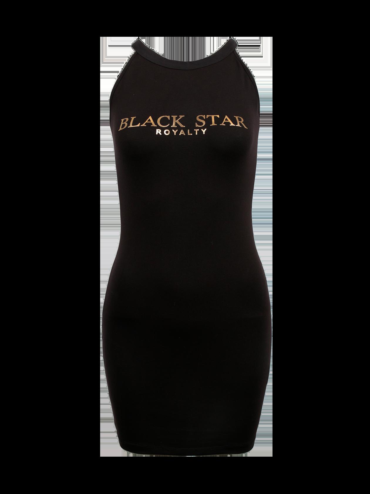 Платье женское ROYALTY COLLARСтильное платье женское Royalty Collar поможет разнообразить повседневный лук. Модель базового черного цвета с яркой надписью на груди «Black Star Royalty» золотыми буквами. Изделие обладает облегающим силуэтом с длиной до середины бедра. Горловина оформлена в форме глубокой лодочки, рукав отсутствует. Практичность вещи обеспечивается натуральным хлопком премиального качества. Платье сочетается со спортивной и классической обувью, подходит для отдыха, прогулок, встреч с друзьями.<br><br>Размер: S<br>Цвет: Черный<br>Пол: Женский