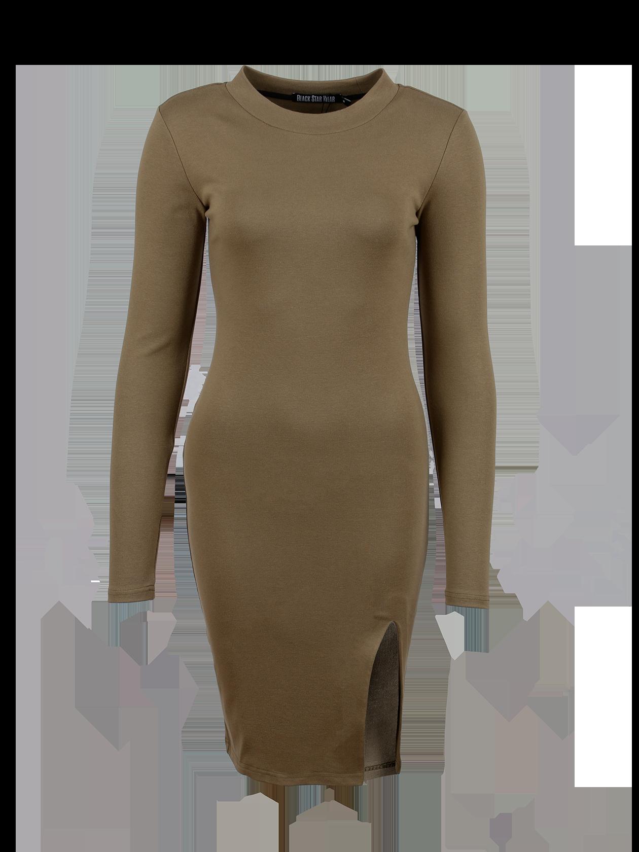 Womens dress SKINNY CUTПлатье Skinny Cut, представленное в коллекции Black Star Wear, станет незаменимой вещью в гардеробе. Модель приятного светло-коричневого оттенка облегающего силуэта выгодно подчеркнет достоинства фигуры. Лаконичный дизайн дополнен небольшим боковым разрезом спереди. Горловина средней глубины с обтачкой из основного материала. Изделие выполнено из бленда натурального хлопка с небольшой примесью эластана, хорошо держит форму и отличается практичностью.<br><br>size: L<br>color: Khaki<br>gender: female