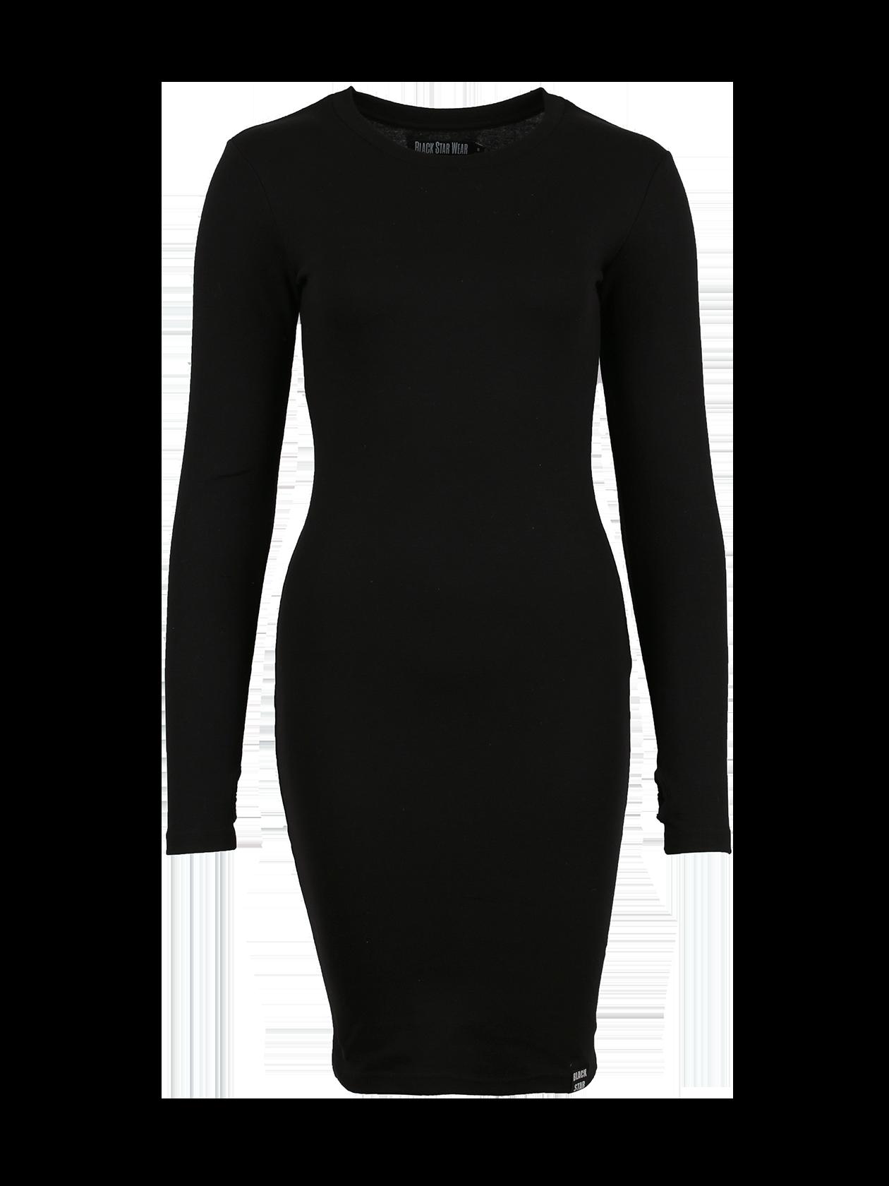 Платье женское SKINNY RIBЧерное платье женское Skinny Rib из новой линии одежды Basic по специальной цене – стильный вариант для создания повседневного образа. Модель облегающего силуэта длиной до колена. Округлая неглубокая горловина с жаккардовым лейблом Black Star Wear на внутренней стороне, длинный рукав с выемкой для большого пальца. Материал изготовления – бленд высококачественного хлопка. Внизу сбоку нашивка с логотипом. Идеально подходит для работы, отдыха, встреч с друзьями.<br><br>Размер: XS<br>Цвет: Черный<br>Пол: Женский