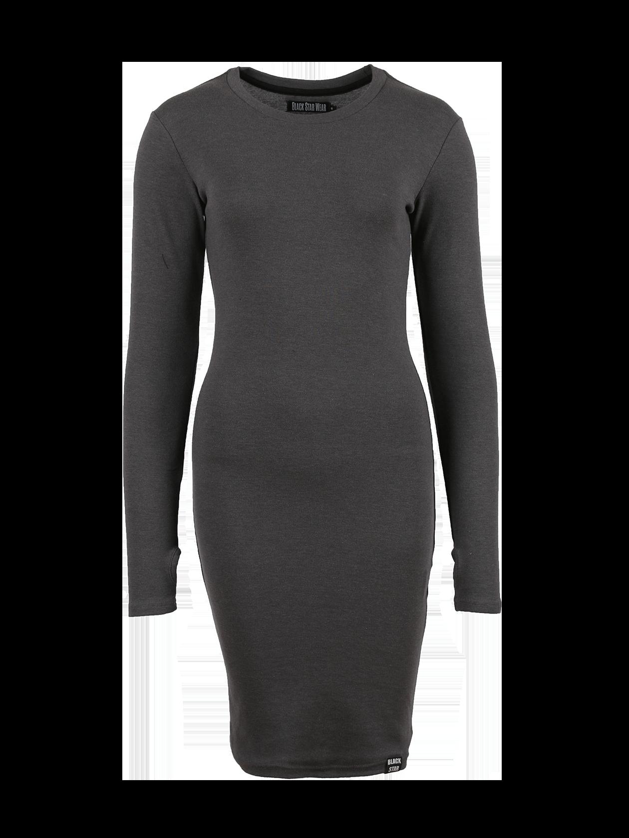 Платье женское SKINNY RIBЧерное платье женское Skinny Rib из новой линии одежды Basic по специальной цене – стильный вариант для создания повседневного образа. Модель облегающего силуэта длиной до колена. Округлая неглубокая горловина с жаккардовым лейблом Black Star Wear на внутренней стороне, длинный рукав с выемкой для большого пальца. Материал изготовления – бленд высококачественного хлопка. Внизу сбоку нашивка с логотипом. Идеально подходит для работы, отдыха, встреч с друзьями.<br><br>Размер: L<br>Цвет: Серый<br>Пол: Женский