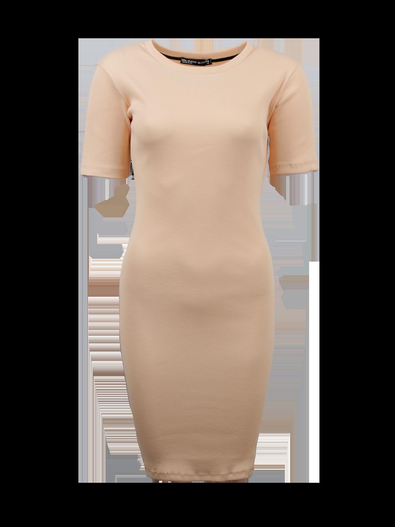 Платье женское HOT SUMMER BSПлатье женское Hot Summer BS из коллекции магазина Black Star Wear – стильное дополнение образа на каждый день. Изделие облегающего силуэта длиной чуть выше колена. Горловина в виде лодочки с лейблом BSW на внутреннем крае спинки. Короткий рукав имеет прилегающую форму. Модель представлена в цвете слоновой кости, актуальном в любом сезоне. Платье создано из премиального натурального хлопка гофрированной структуры, отлично подчеркивает достоинства фигуры. Подходит для офиса, встреч с друзьями, хорошо сочетается с классической и повседневной обувью.<br><br>Размер: XS<br>Цвет: Бежевый<br>Пол: Женский