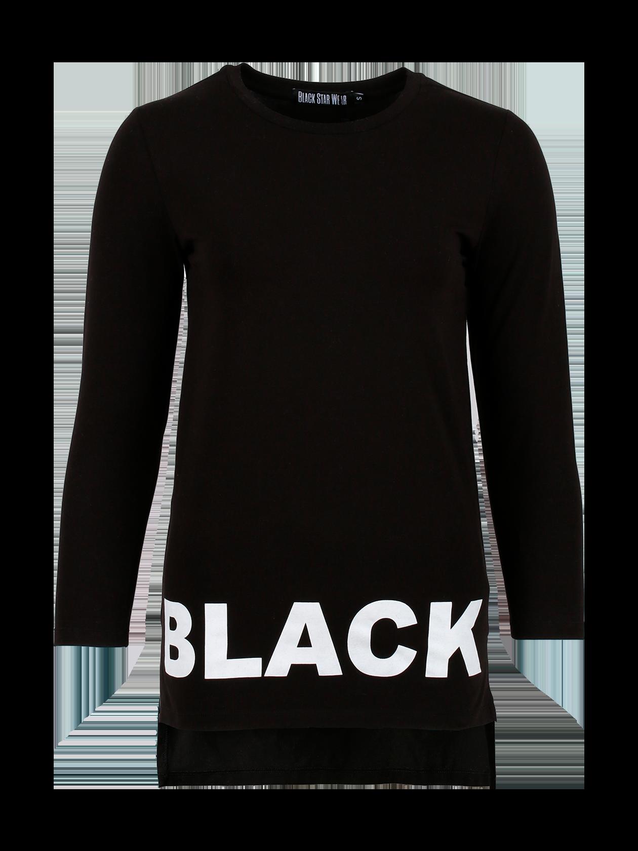 Туника женская BS BASICТуника женская BS Basic из новой линейки Basic – стильное дополнение к повседневному образу. Модель прямого полуоблегающего кроя с ассиметричным низом и длинным рукавом. Горловина округлой формы небольшой глубины, имеет жаккардовый лейбл Black Star Wear на внутренней стороне. Изделие черного цвета сшито из высококачественного бленда хлопка (95%) и лайкры (5%), обладает высокой практичностью. Спереди по низу оформлена надпись Black крупными белыми буквами. Цена стала еще выгоднее.<br><br>Размер: XS<br>Цвет: Черный<br>Пол: Унисекс