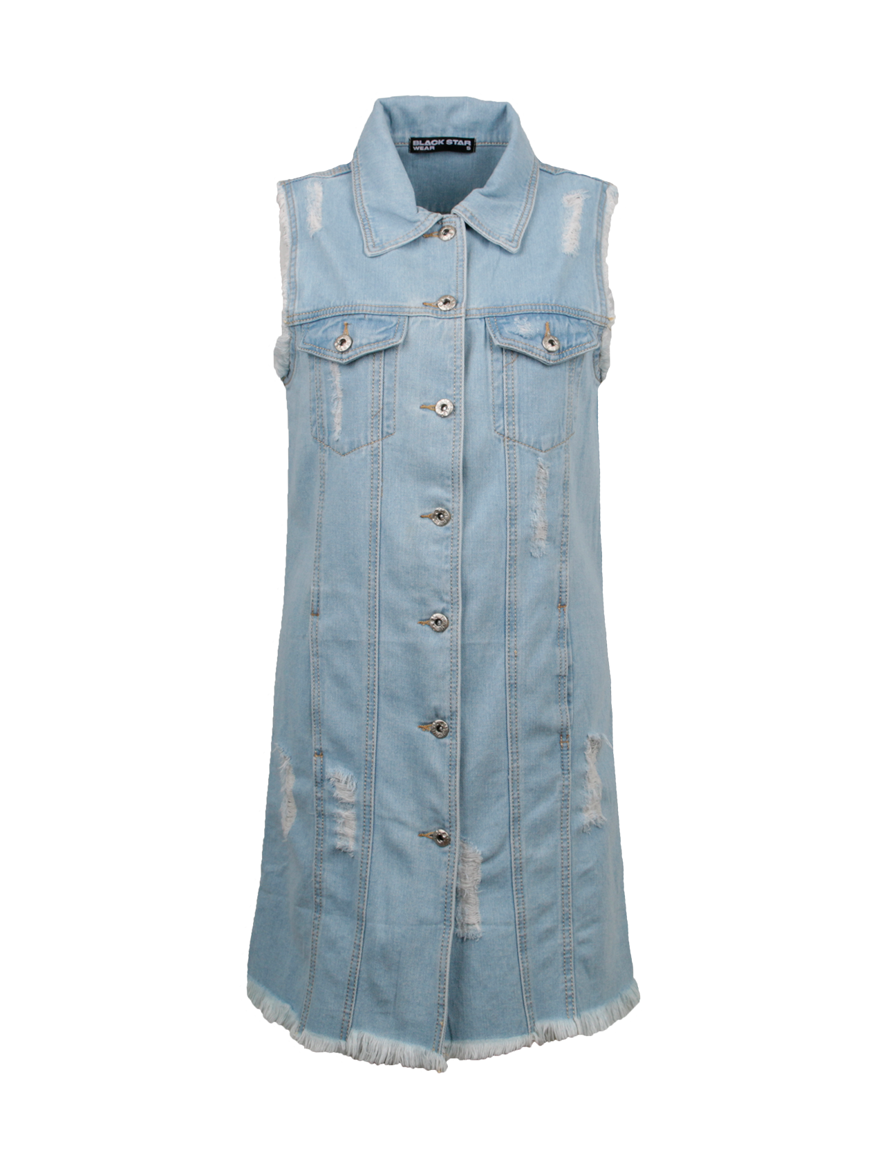 Куртка джинсовая женская HOT 13 DENIMКуртка джинсовая женская Hot 13 Denim – актуальный тренд для любого сезона. Стильная модель удлиненного прямого кроя без рукавов. Рубашечный воротник с логотипом Black Star Wear внутри, большие накладные карманы на груди. Изделие дополнено качественной фурнитурой, принтом с цифрой 13 на спине. В качестве застежки представлены крупные металлические пуговицы. В дизайне применены декоративные вертикальные швы, потертости. Куртка сшита из высококачественного денима популярной светло-голубой расцветки.<br><br>Размер: S<br>Цвет: Голубой<br>Пол: Женский