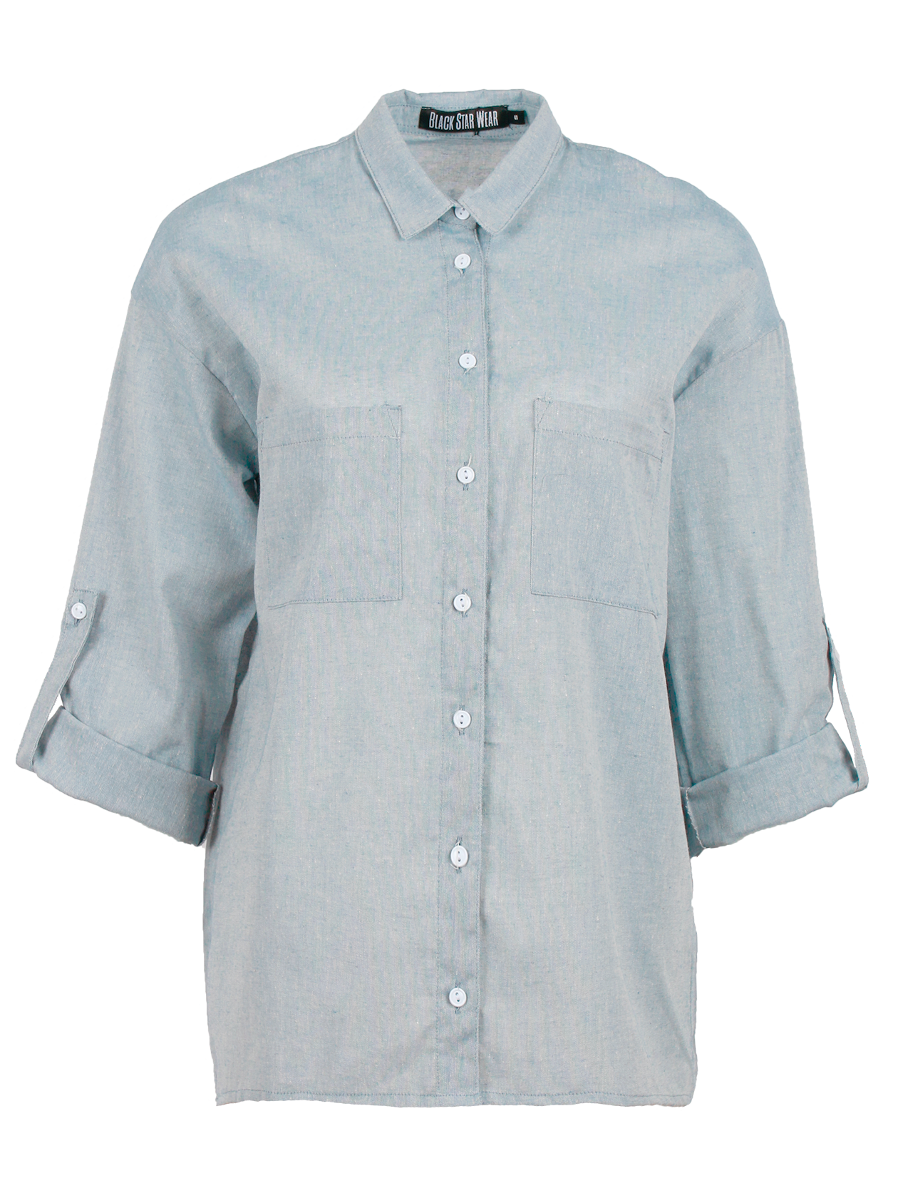 Рубашка женская SereneРубашка женская Serene светло-голубого цвета – идеальный вариант для тех, кто использует любую возможность всегда быть модной, стильной и неповторимой. Классические мотивы в сочетании с современными акцентами создают дизайн, способный подчеркнуть самые лучшие стороны внешности и характера. Модель прямого свободного кроя с приспущенным плечиком и застежкой, регулирующей длину рукава, дополнена накладными карманами спереди. Такая вещь позволит экспериментировать с образами, оставаясь всегда уверенной в себе.<br><br>Размер: L<br>Цвет: Голубой<br>Пол: Женский